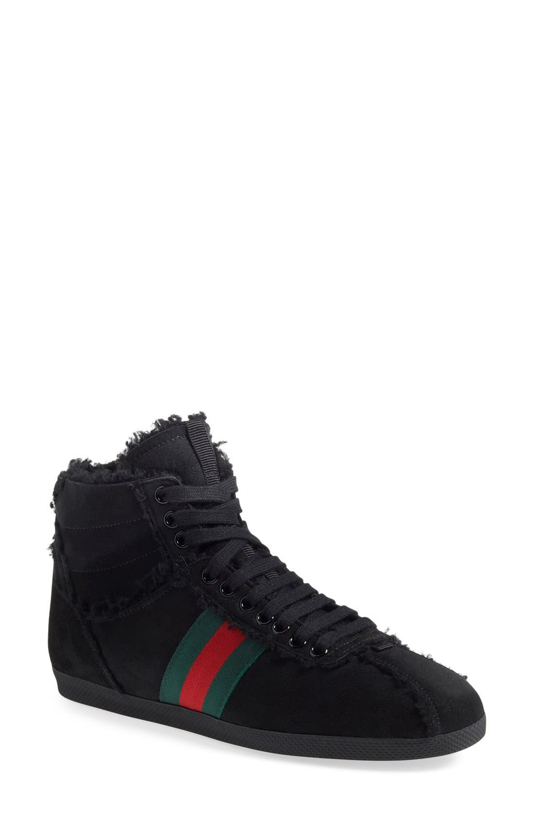 Gucci 'Bambi' Genuine Shearling High Top Sneaker (Women)