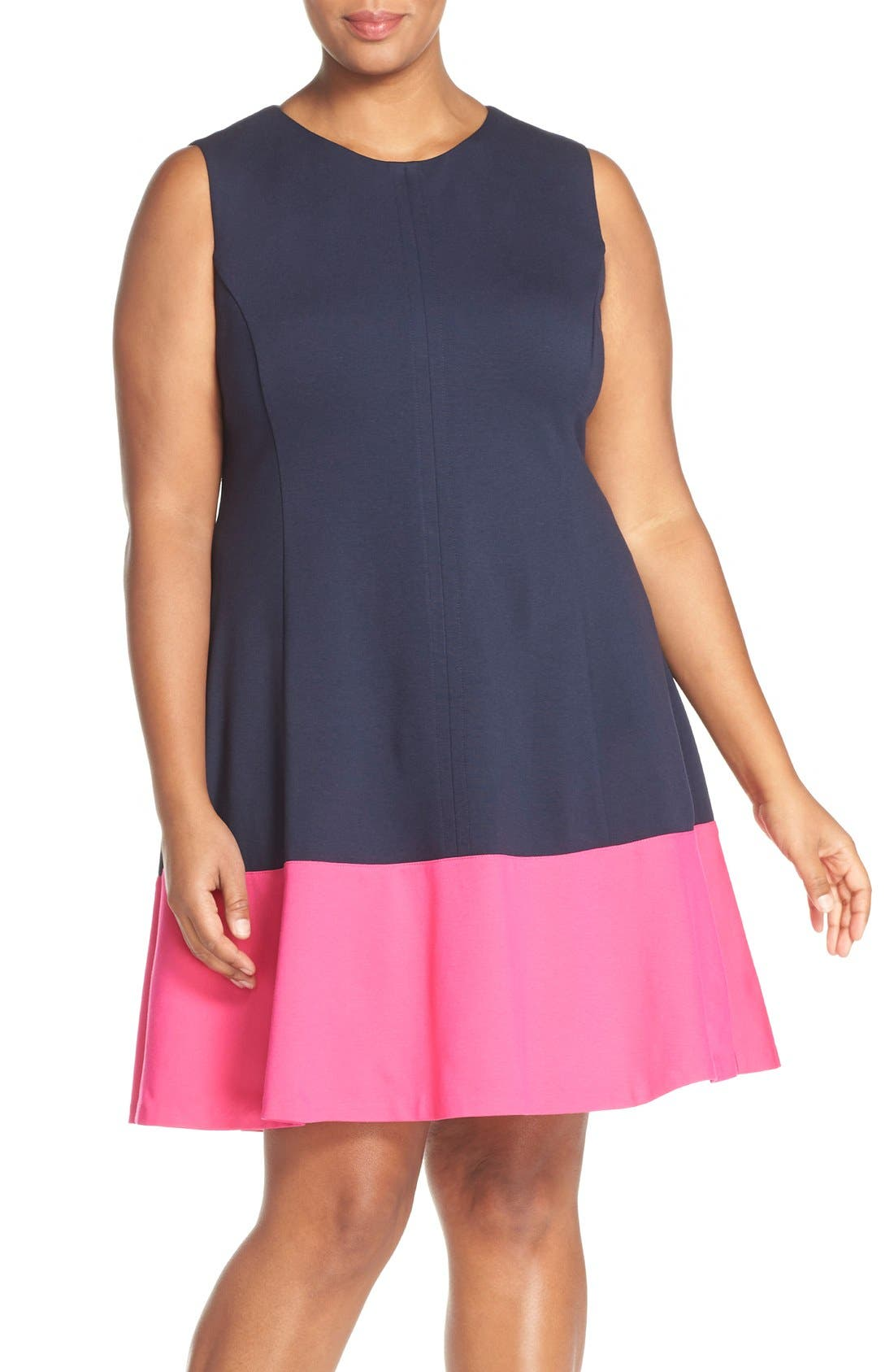 Colorblock Hem Fit & Flare,                             Main thumbnail 1, color,                             Navy/ Pink