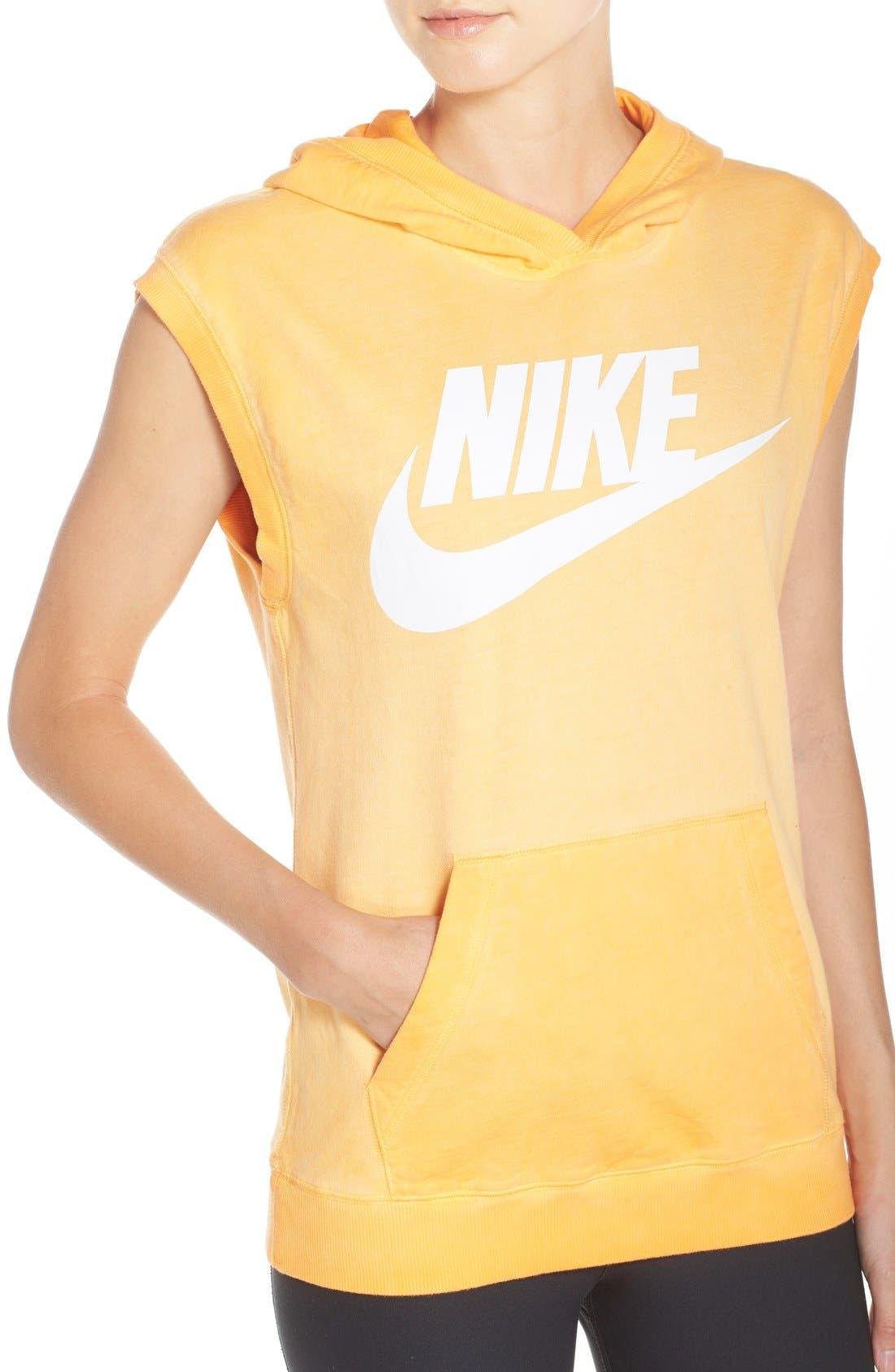 Alternate Image 4  - Nike Logo Sleeveless Cotton Hoodie