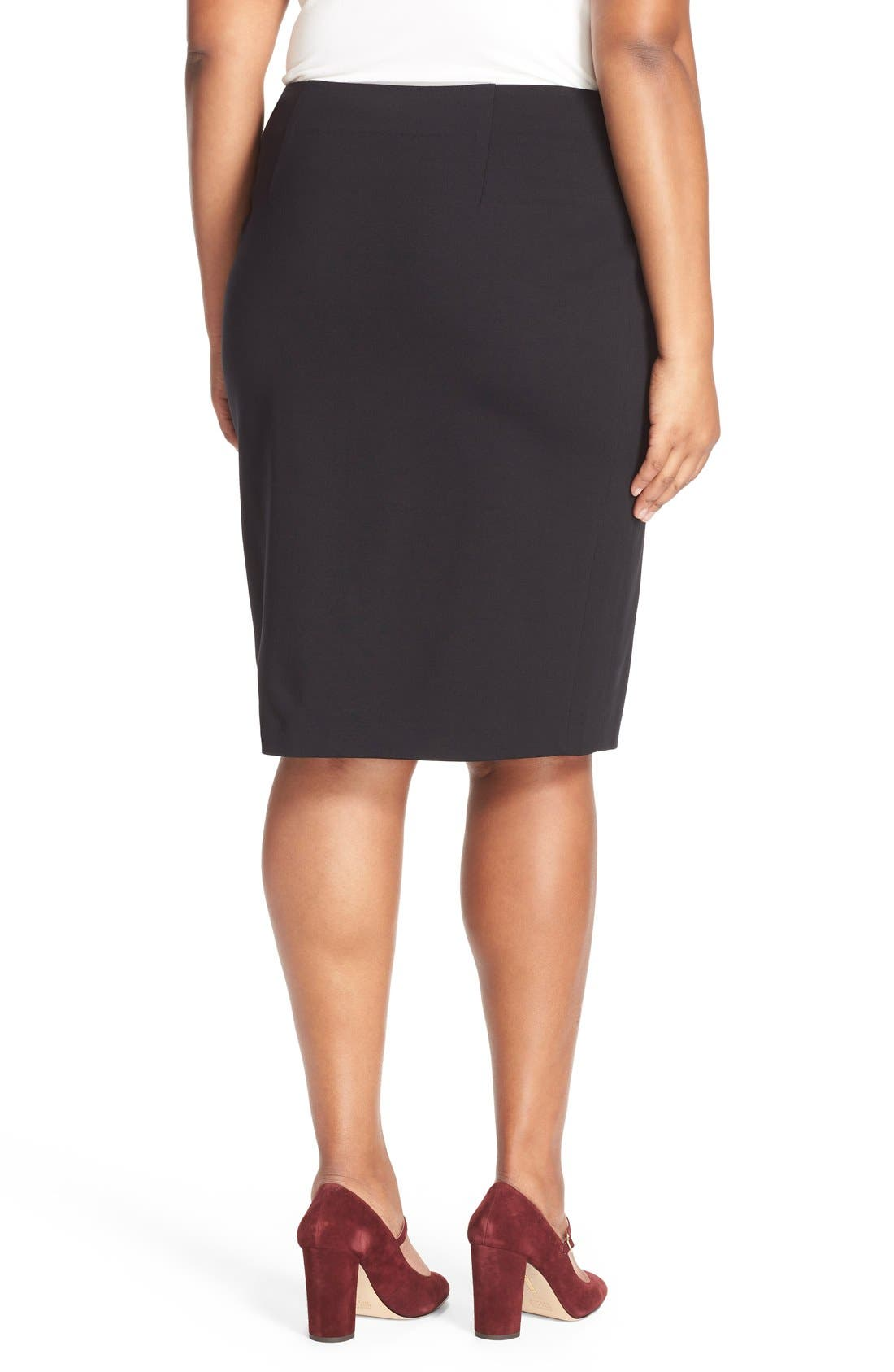 Alternate Image 3  - Vince Camuto Ponte Knit Skirt (Plus Size)