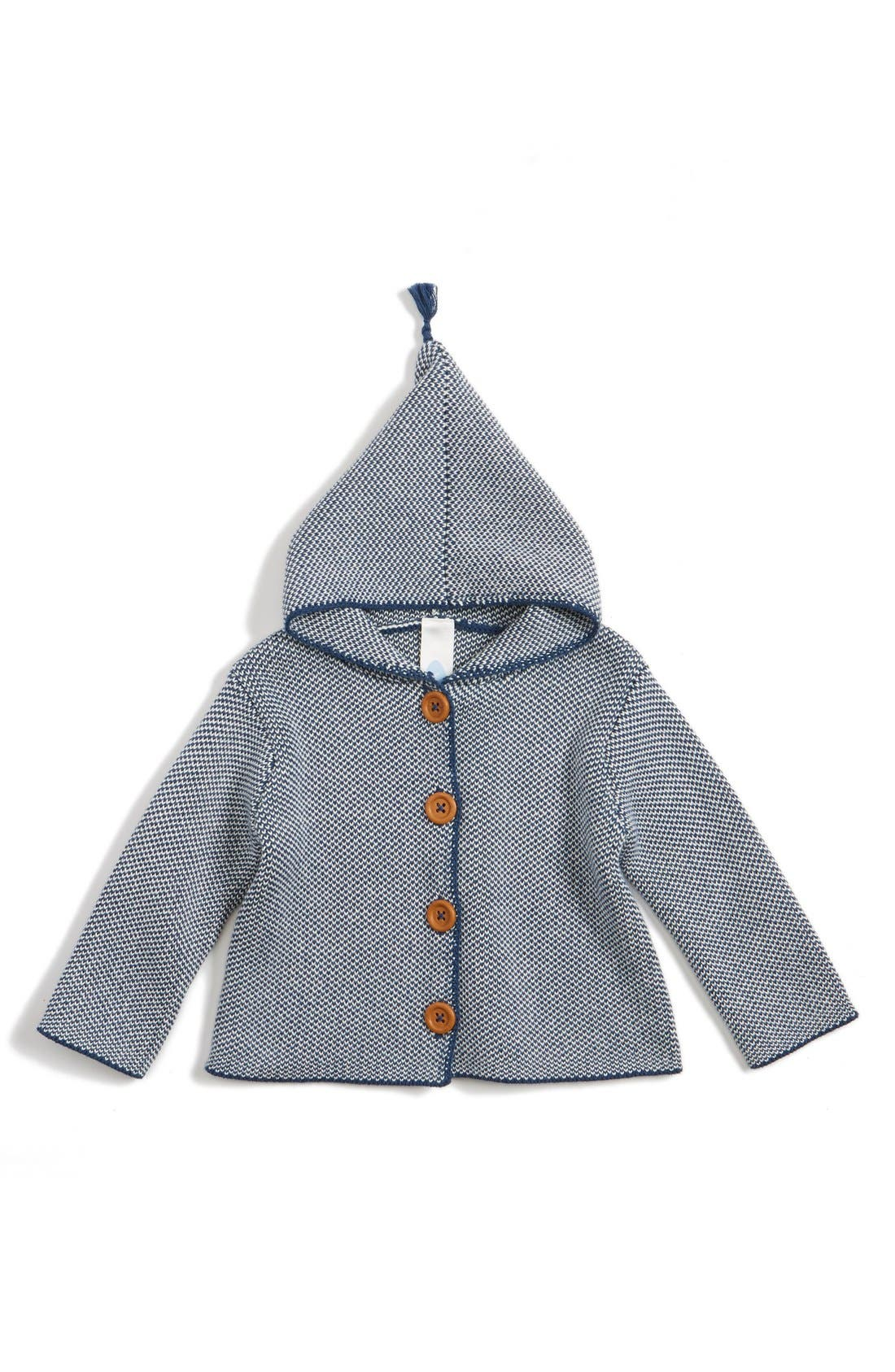 Organic Cotton Hooded Cardigan,                         Main,                         color, Navy Denim