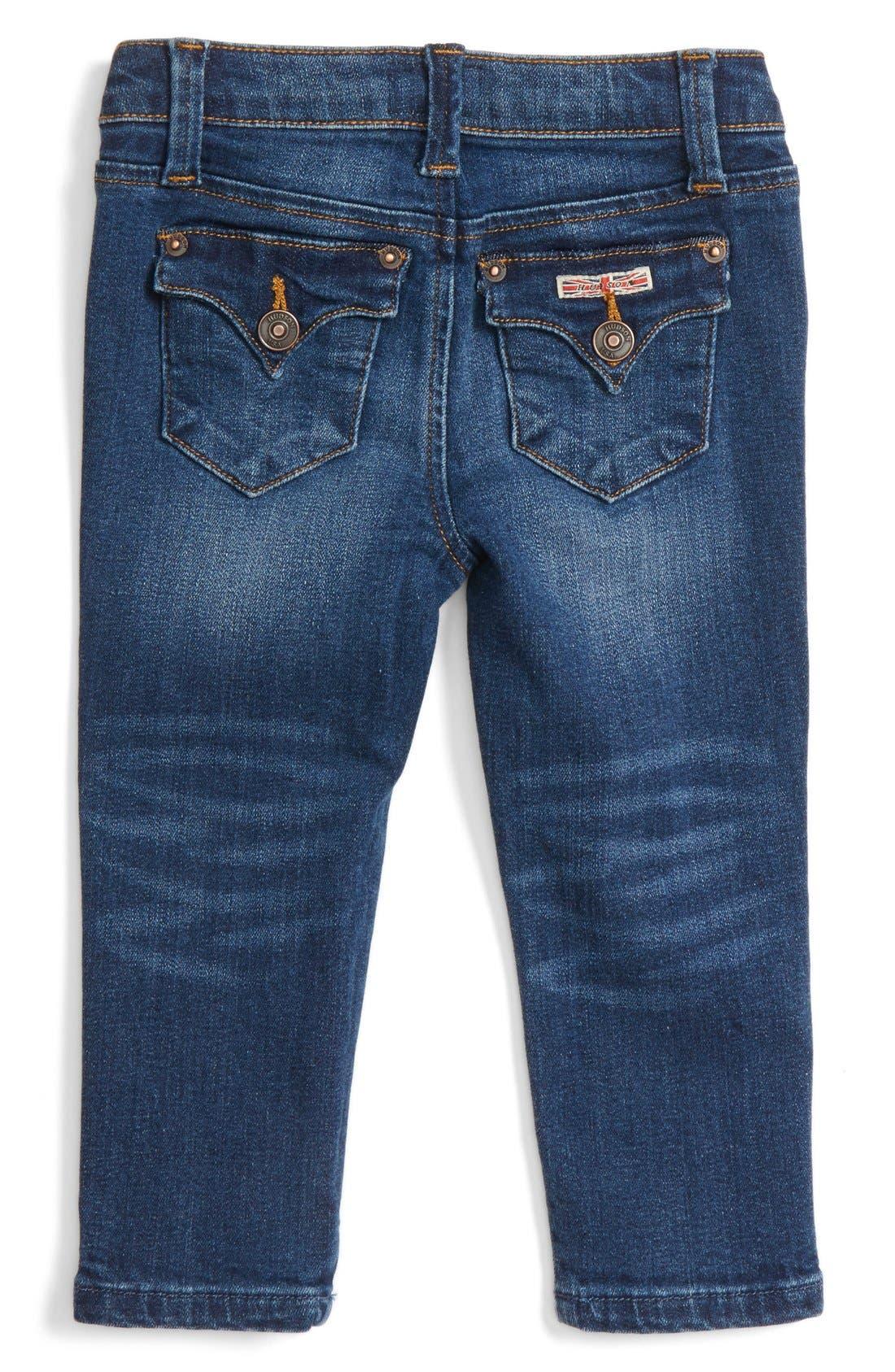 Alternate Image 2  - Hudson 'Collin' Skinny Jeans (Baby Girls)