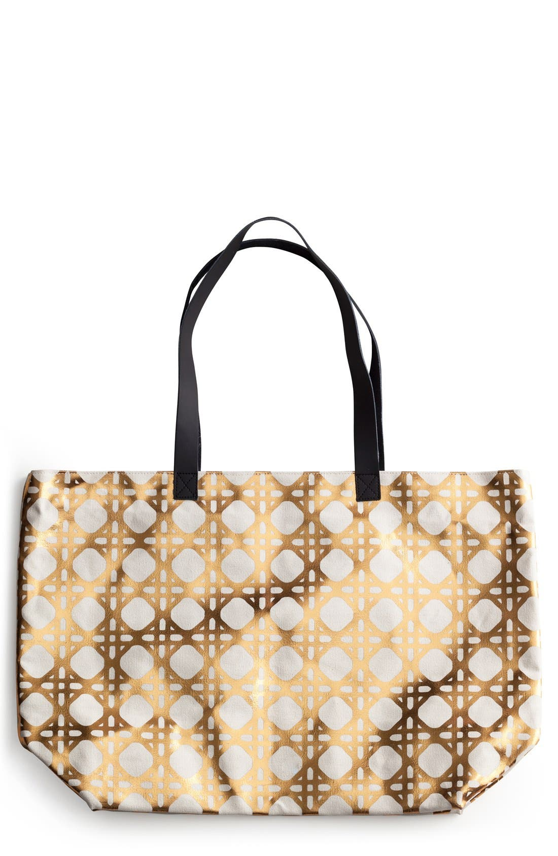 'Trellis' Tote,                         Main,                         color, Metallic Gold