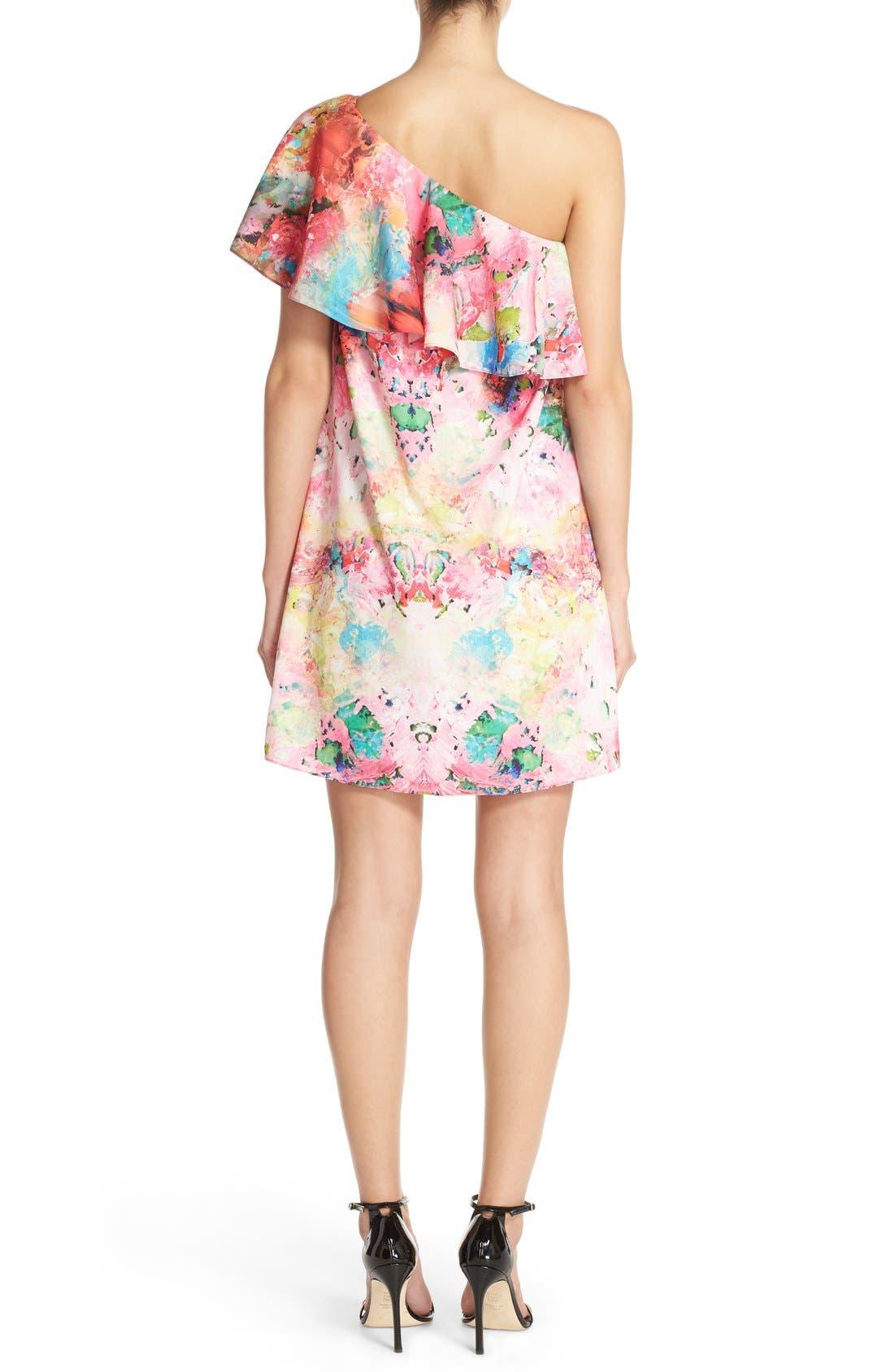 Alternate Image 2  - A by Amanda 'Zoe' Floral Print One Shoulder Dress