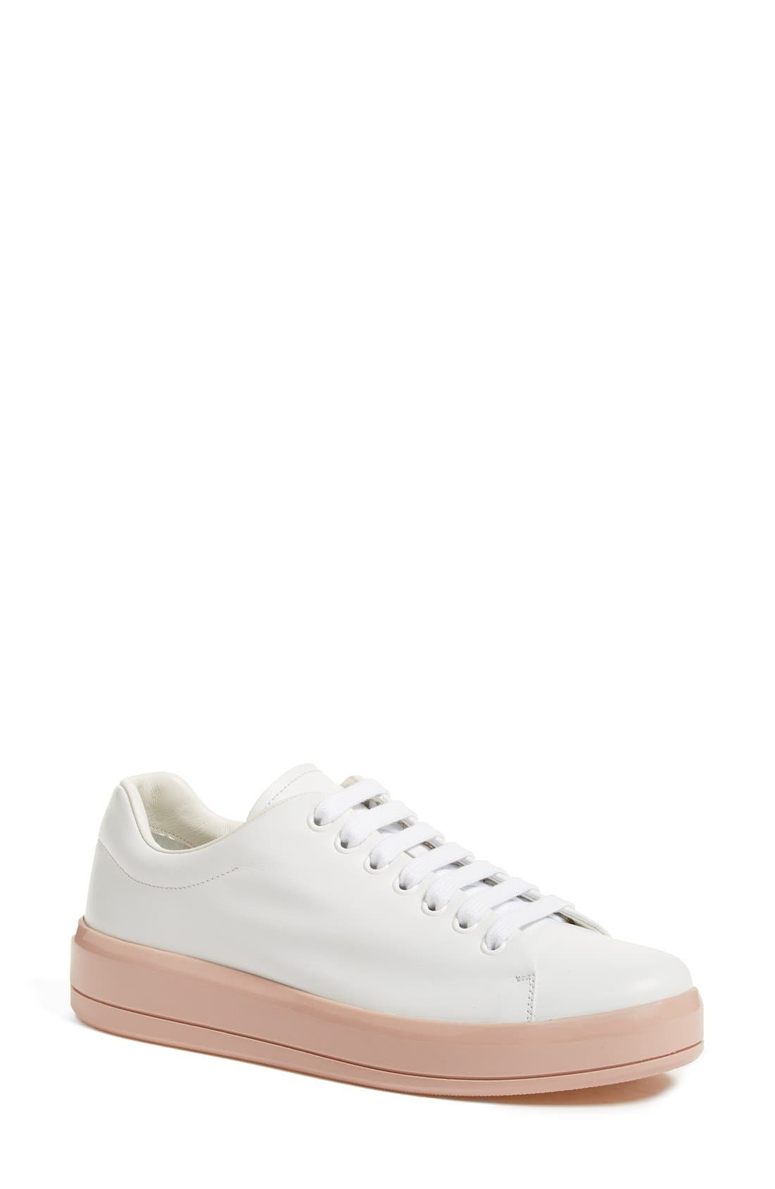 Alternate Image 1 Selected - Prada Platform Lace-Up Sneaker (Women)