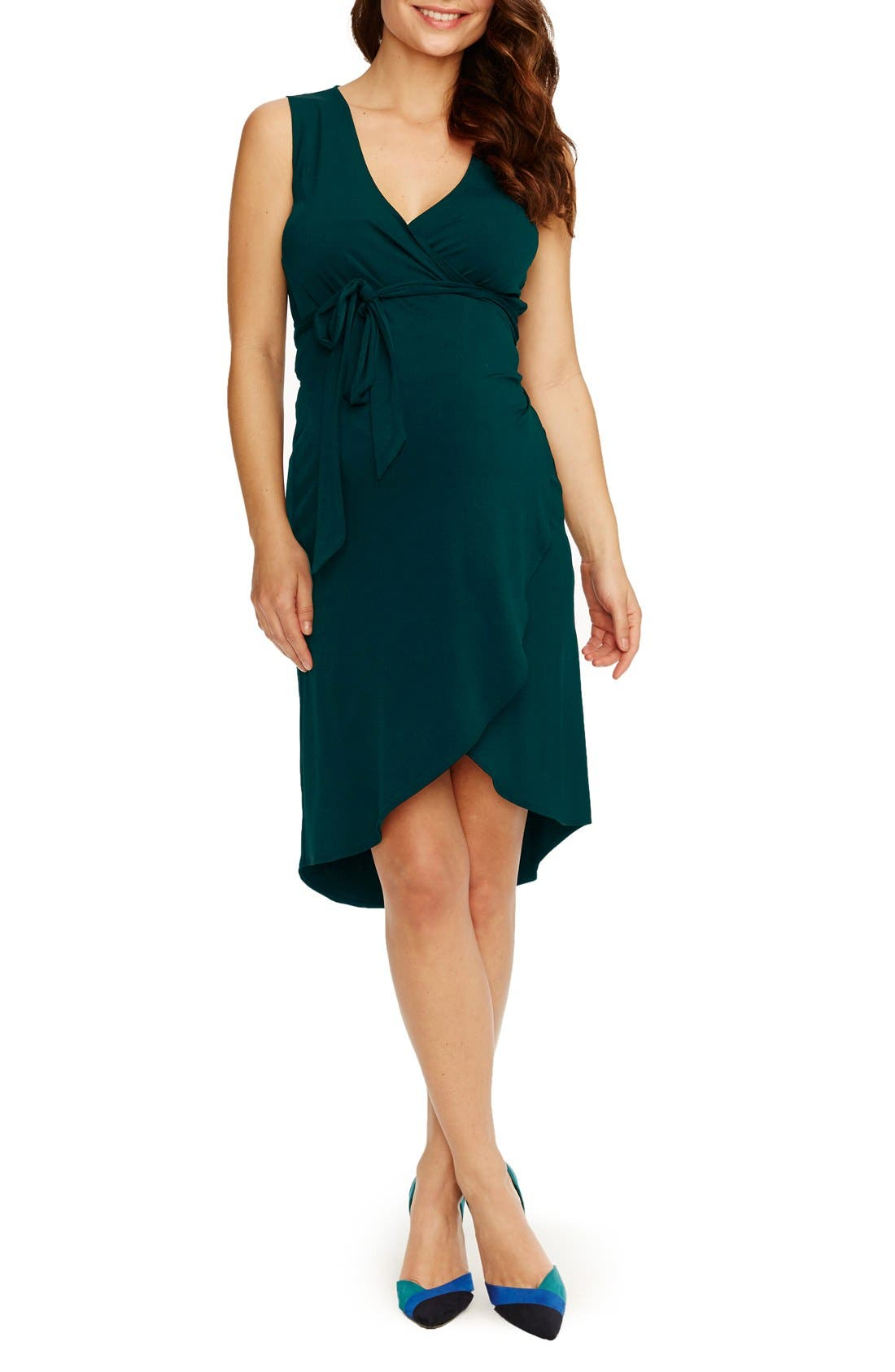 'Calla' Maternity Dress,                             Main thumbnail 1, color,                             Emerald