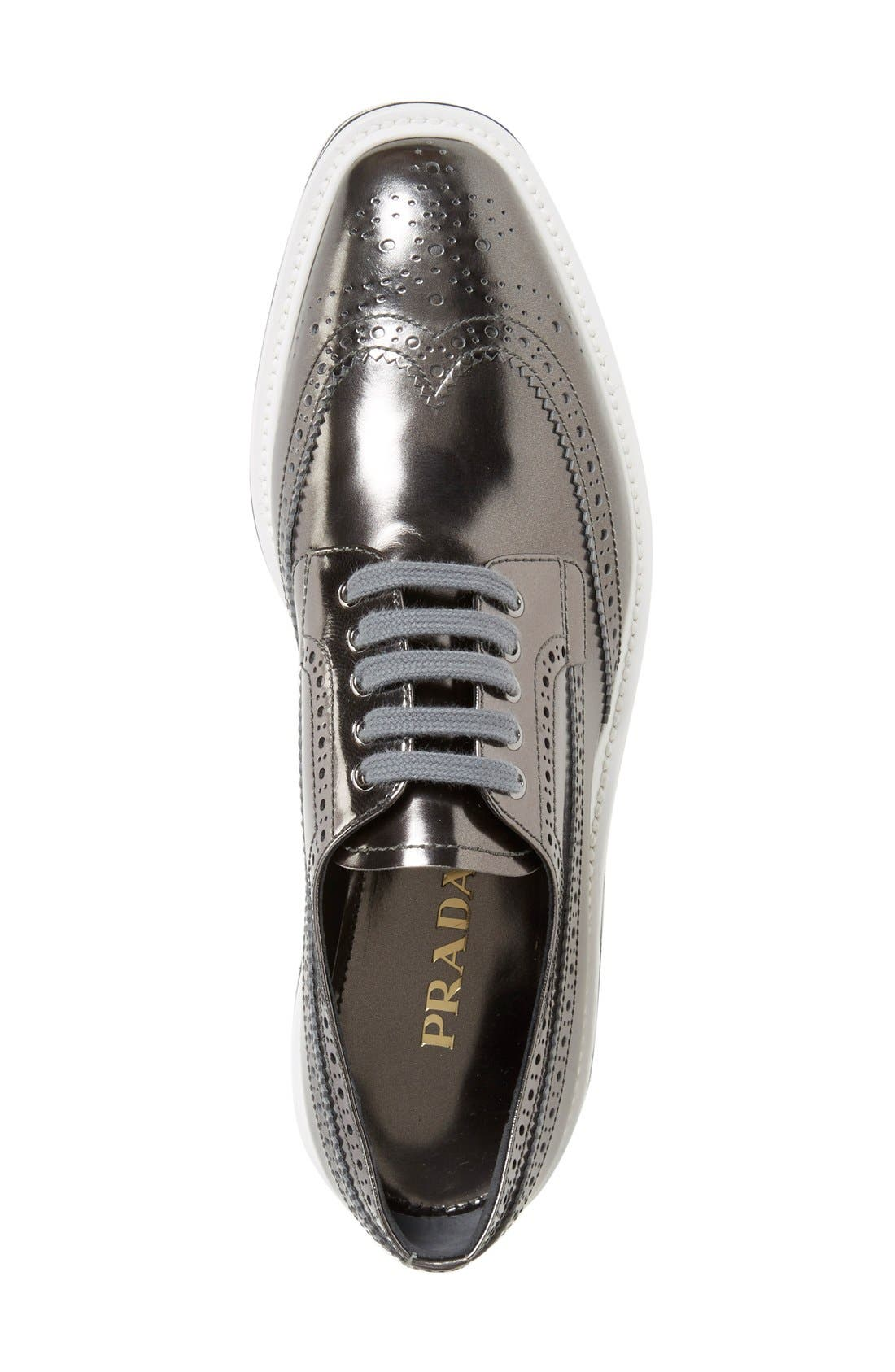 Winged Oxford,                             Alternate thumbnail 3, color,                             Metallic Silver