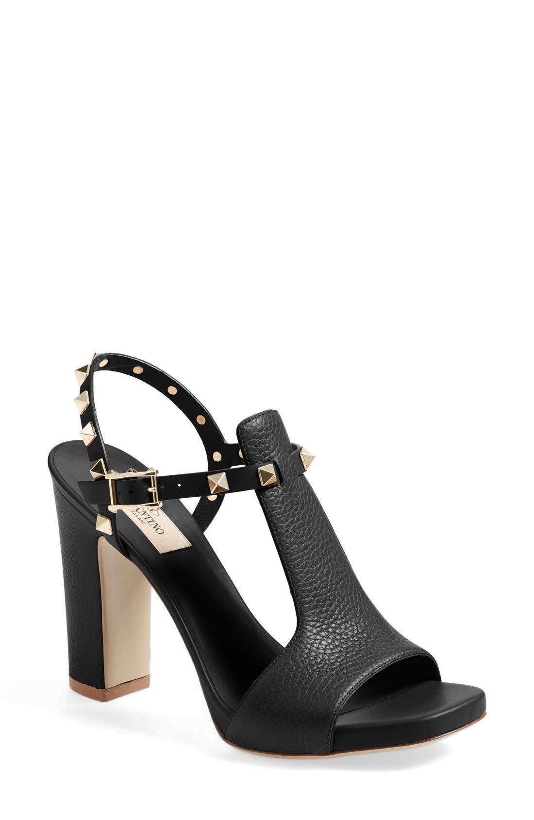 VALENTINO GARAVANI 'Rockstud Cutout' T-Strap Sandal (Women)