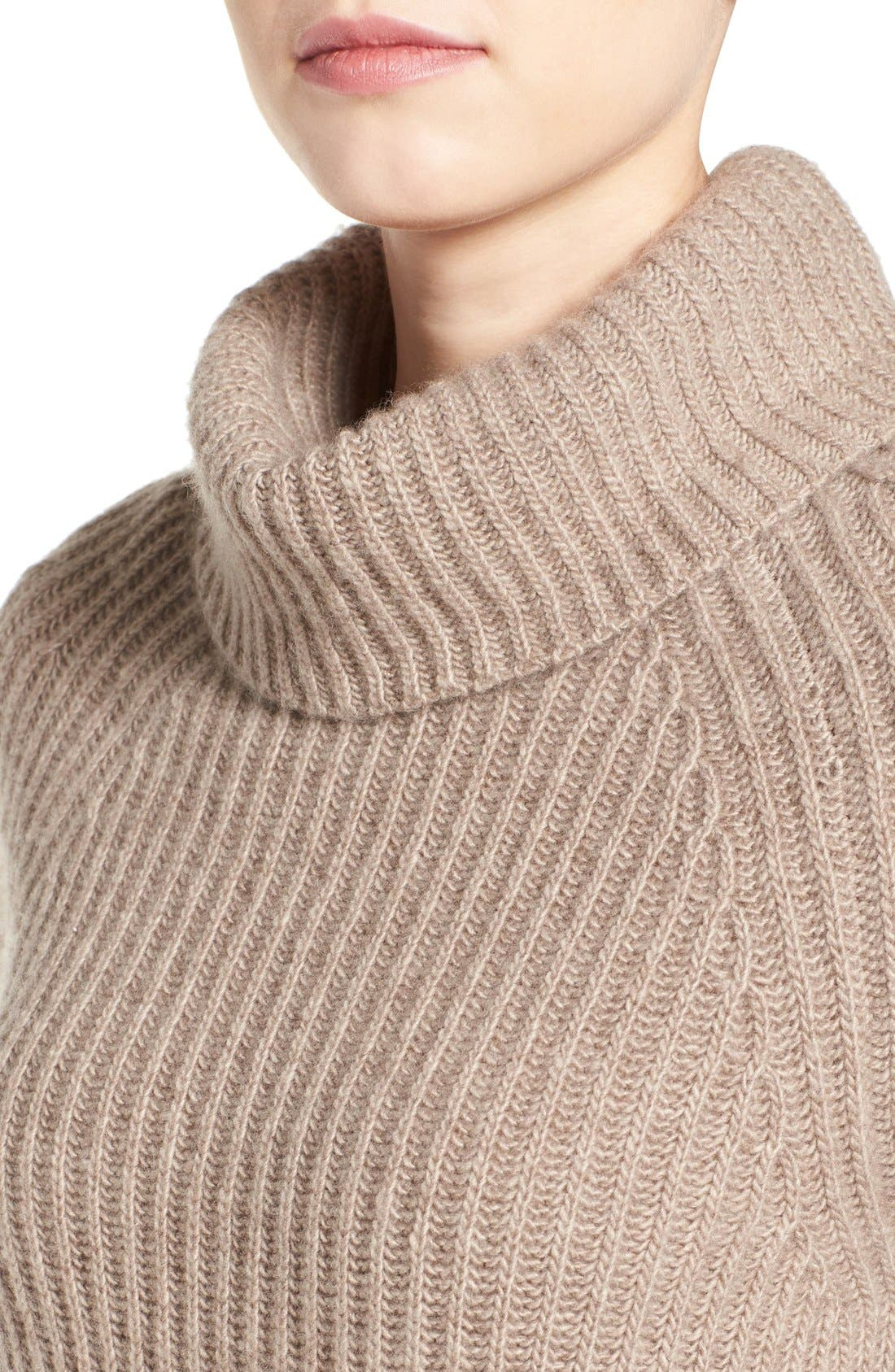 Alternate Image 5  - Halogen® Ribbed Cashmere Turtleneck Sweater (Regular & Petite)
