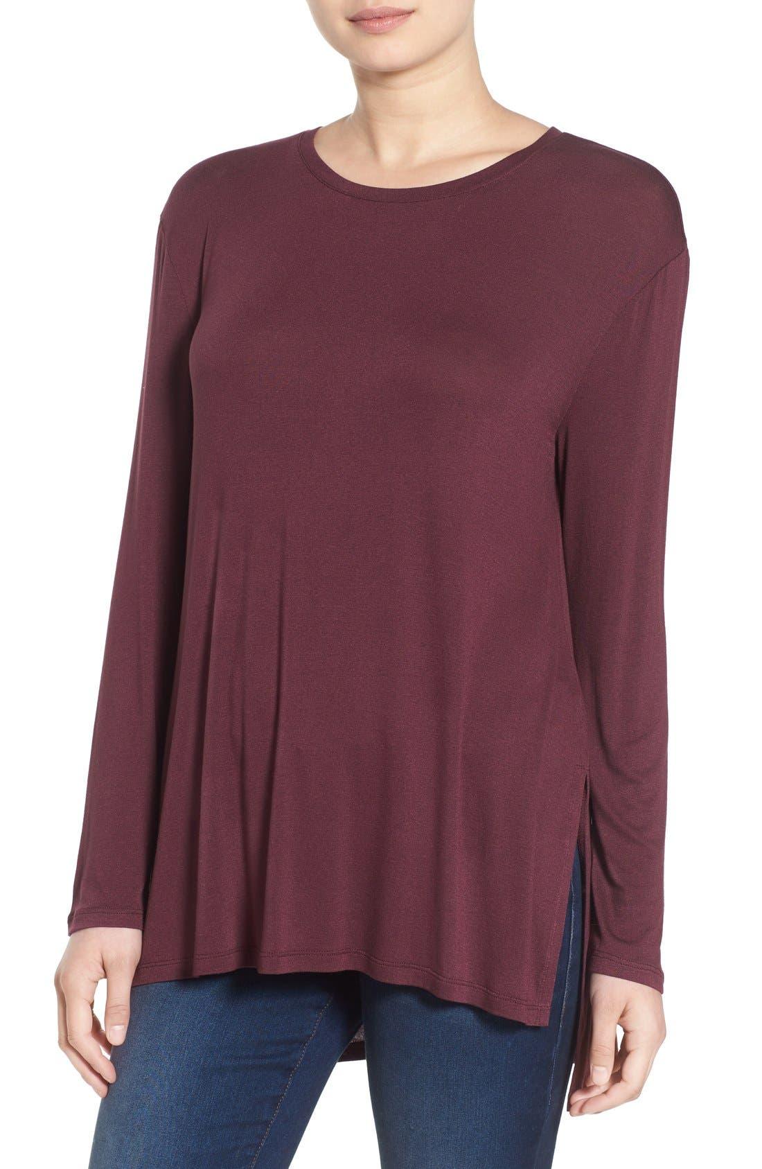 Long Sleeve Tunic Tee,                         Main,                         color, Burgundy Stem