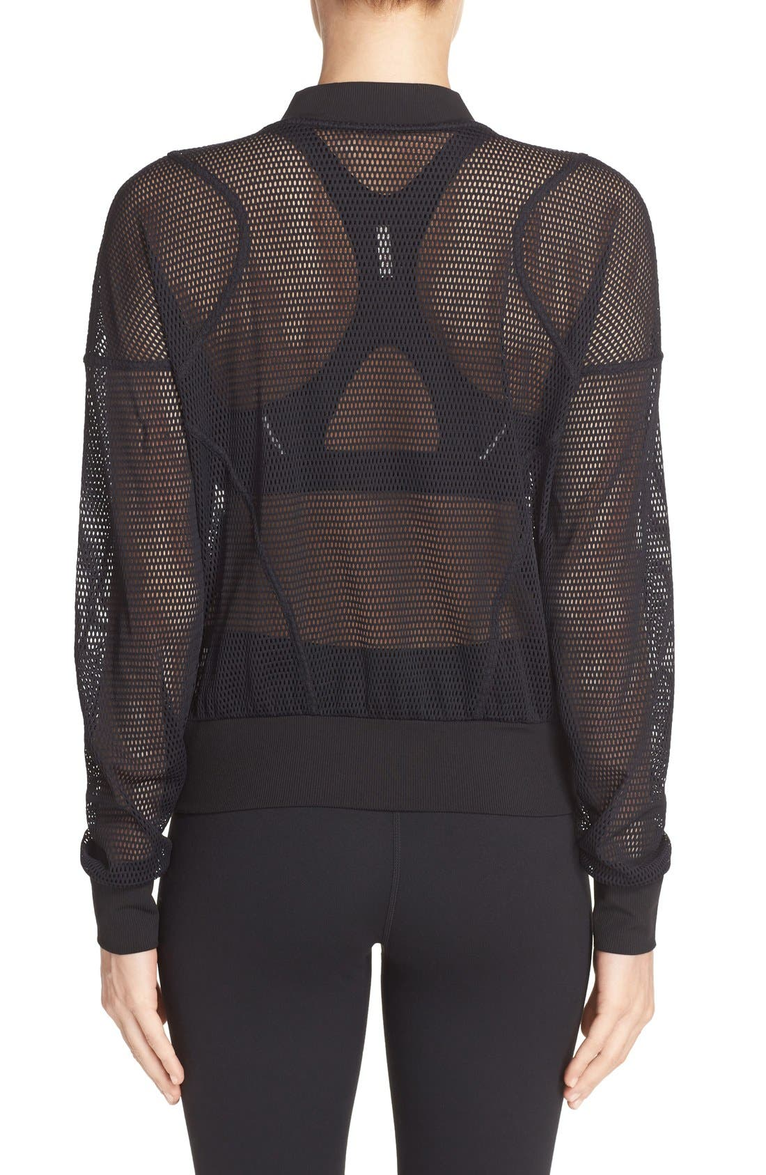 'Sculpt' Mesh Bomber Jacket,                             Alternate thumbnail 2, color,                             Black