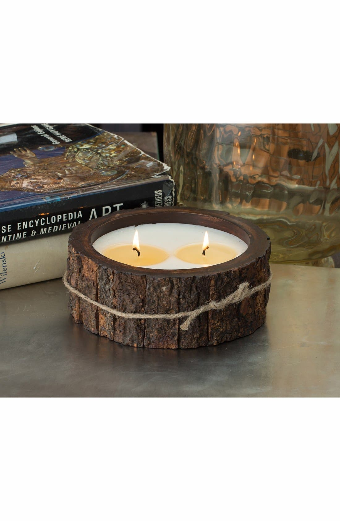 Double Wick Tree Bark Candle,                             Alternate thumbnail 2, color,