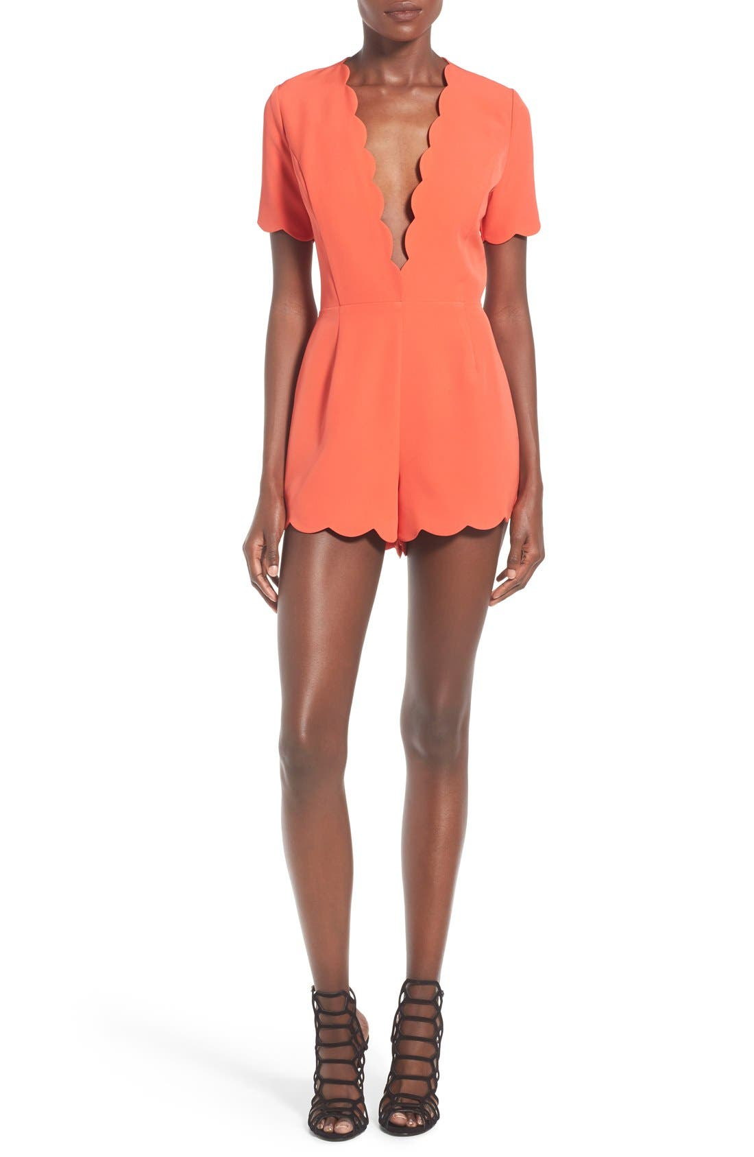 Alternate Image 1 Selected - Storee Scallop Plunge Romper