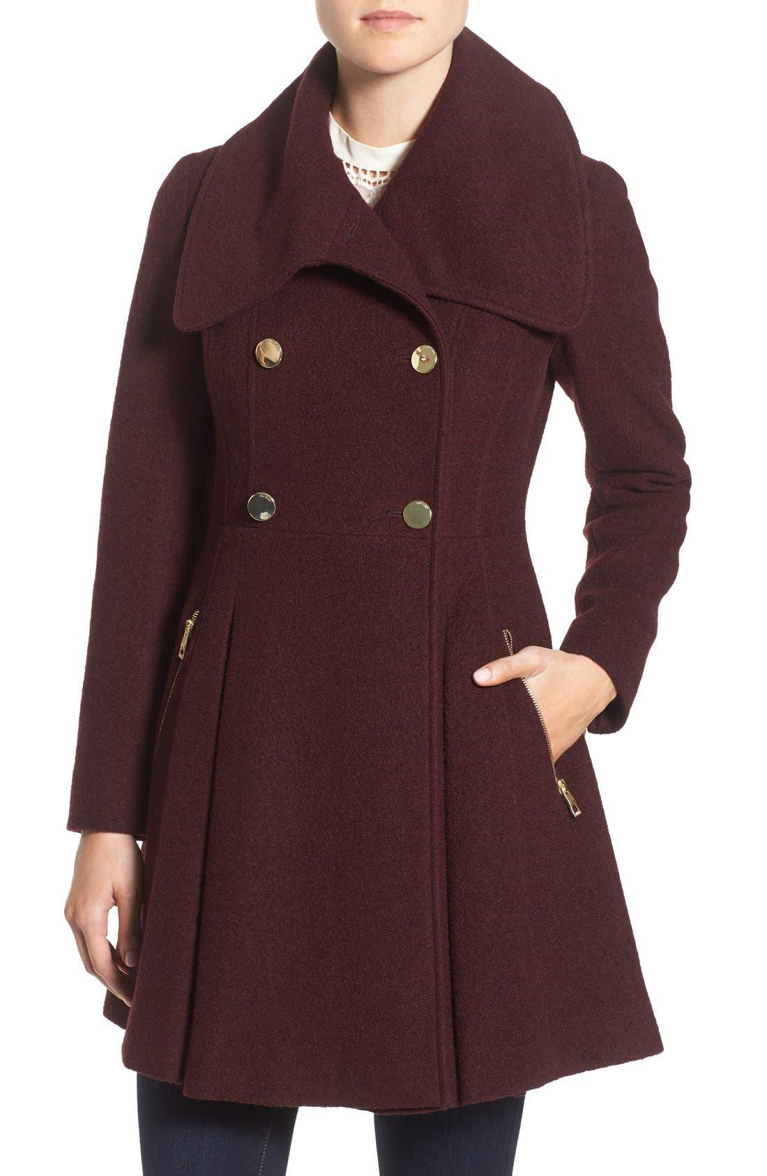 GUESS Envelope Collar Double Breasted Coat (Regular & Petite)