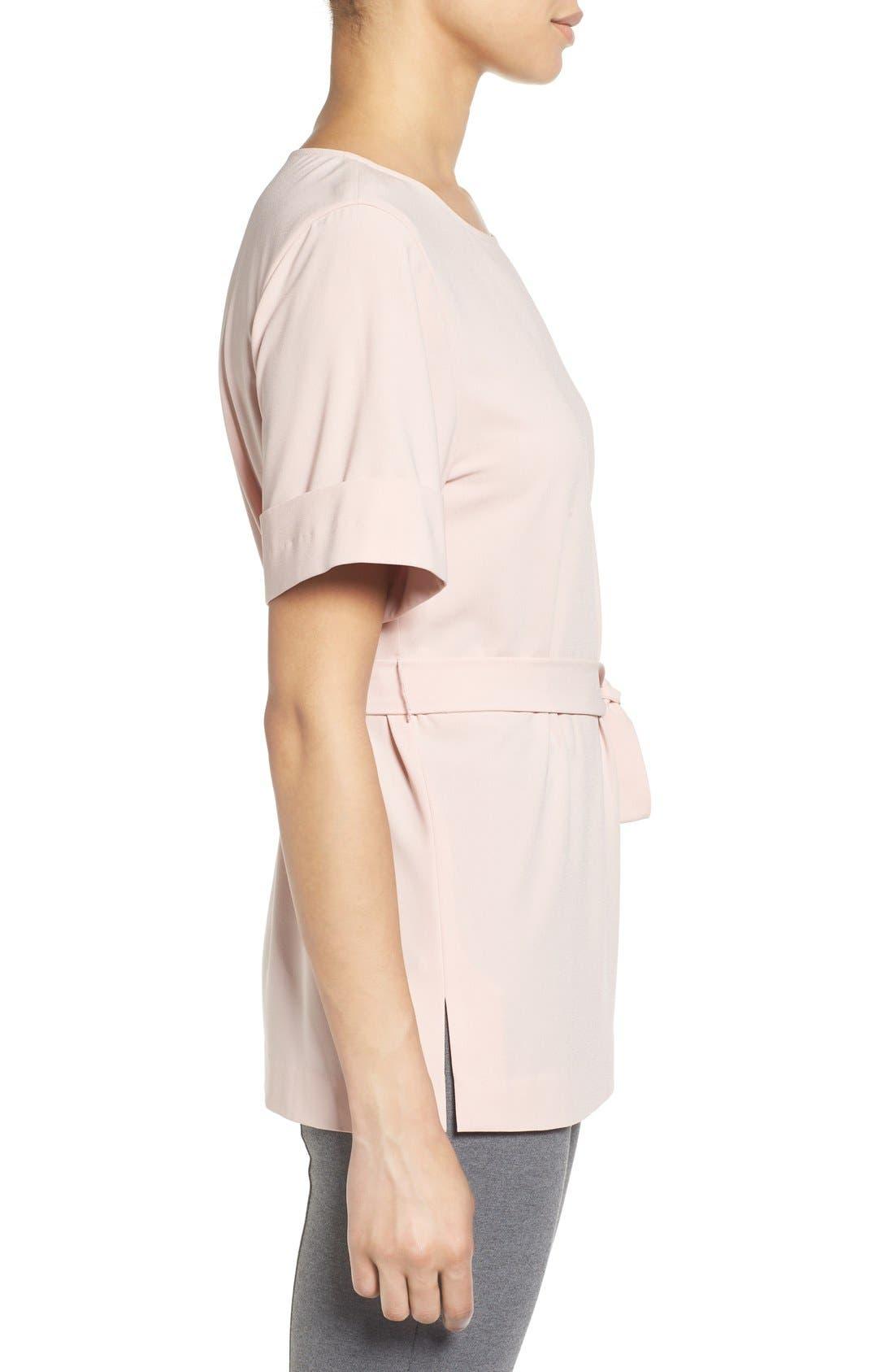 Alternate Image 3  - Halogen® Belted Short Sleeve Top (Regular & Petite)