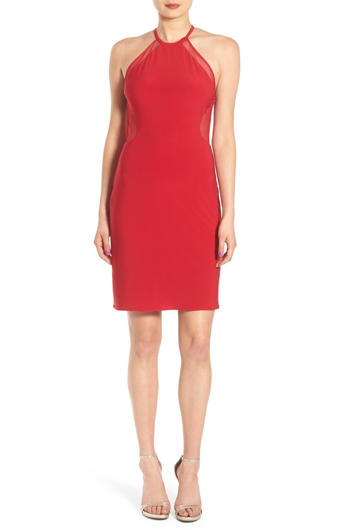 Main Image - Morgan & Co Illusion Mesh Body-Con Dress