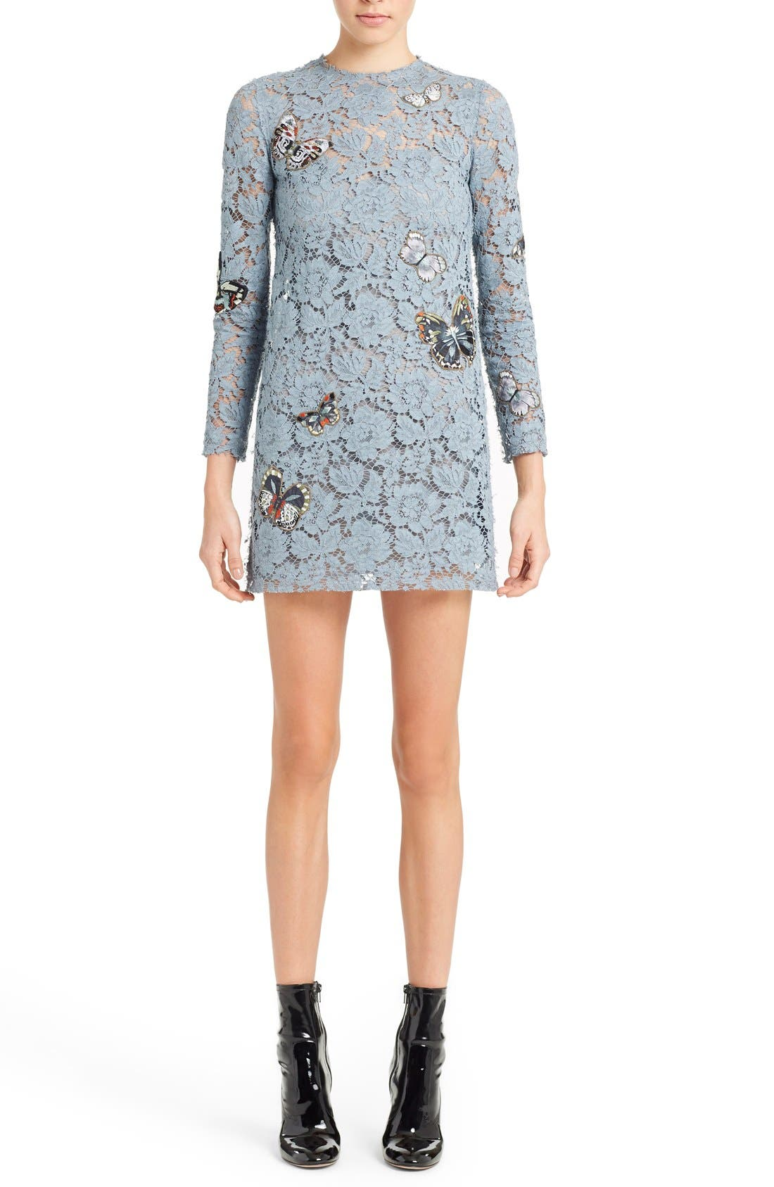 Butterfly Embroidered Lace Dress,                             Main thumbnail 1, color,                             Slate Blue