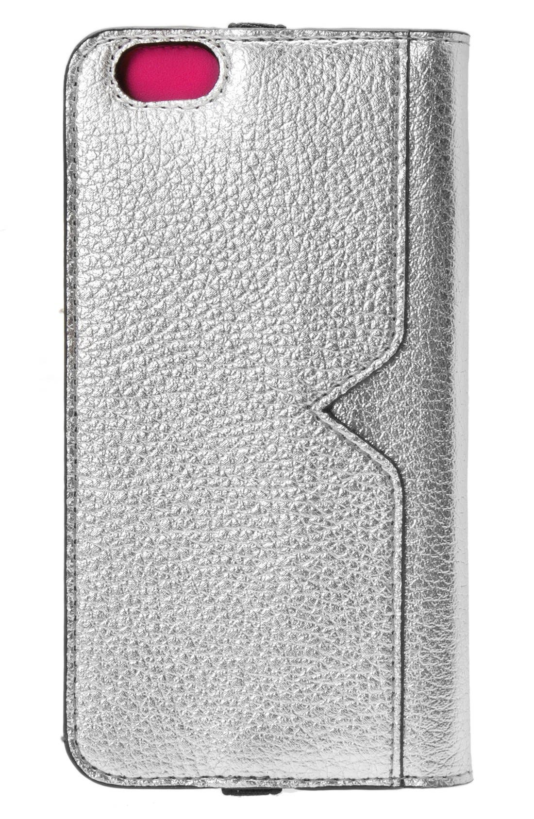 iPhone 6/6s Metallic Leather Wallet Case,                             Alternate thumbnail 2, color,                             Metallic Silver/ Fuchsia