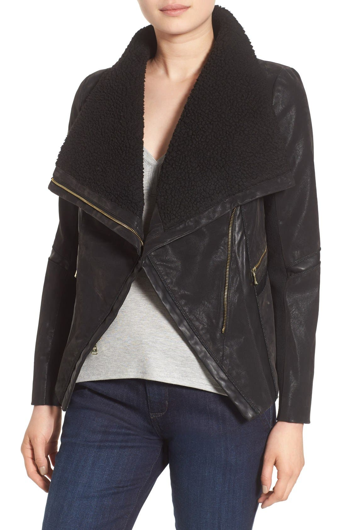 Faux Leather Moto Jacket with Faux Fur Trim,                         Main,                         color, Black