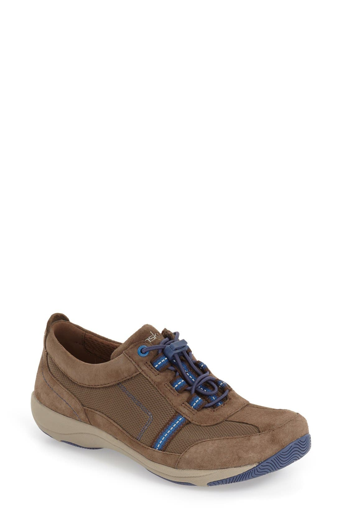 'Helen' Suede & Mesh Sneaker,                         Main,                         color, Taupe Suede