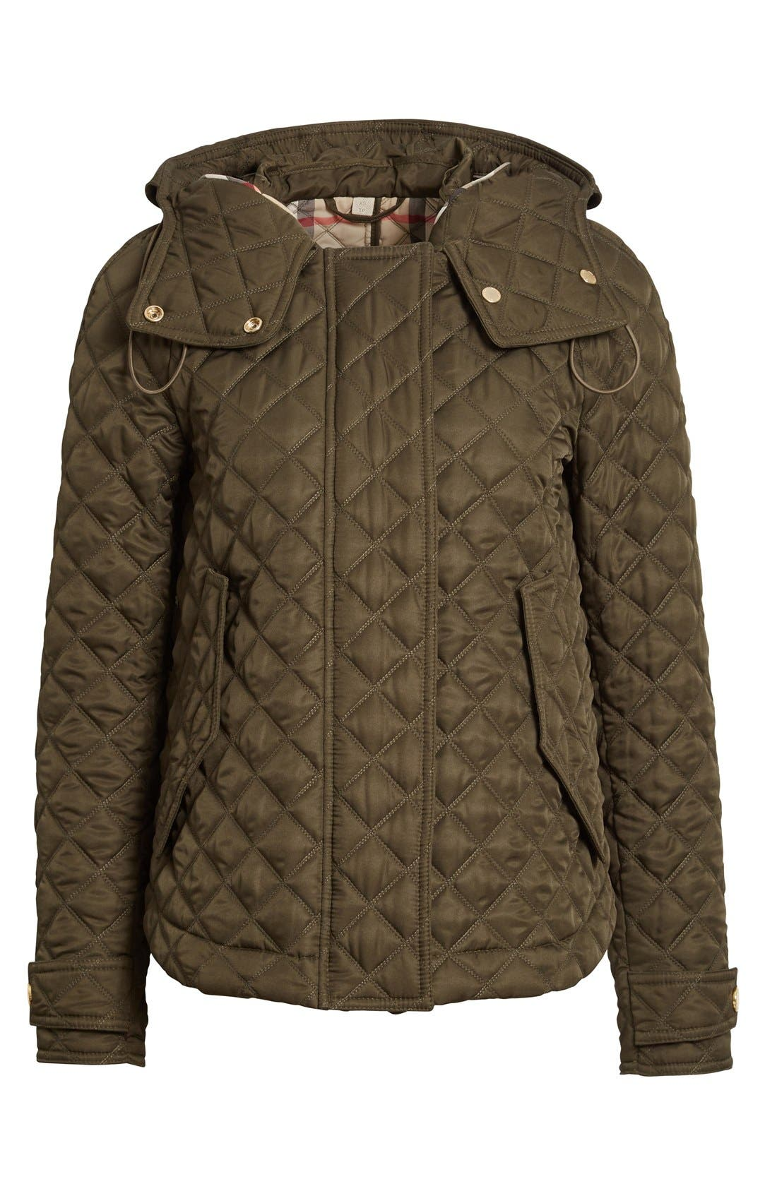 'Leightonbury' Quilted Hooded Jacket,                             Alternate thumbnail 4, color,                             Dark Olive