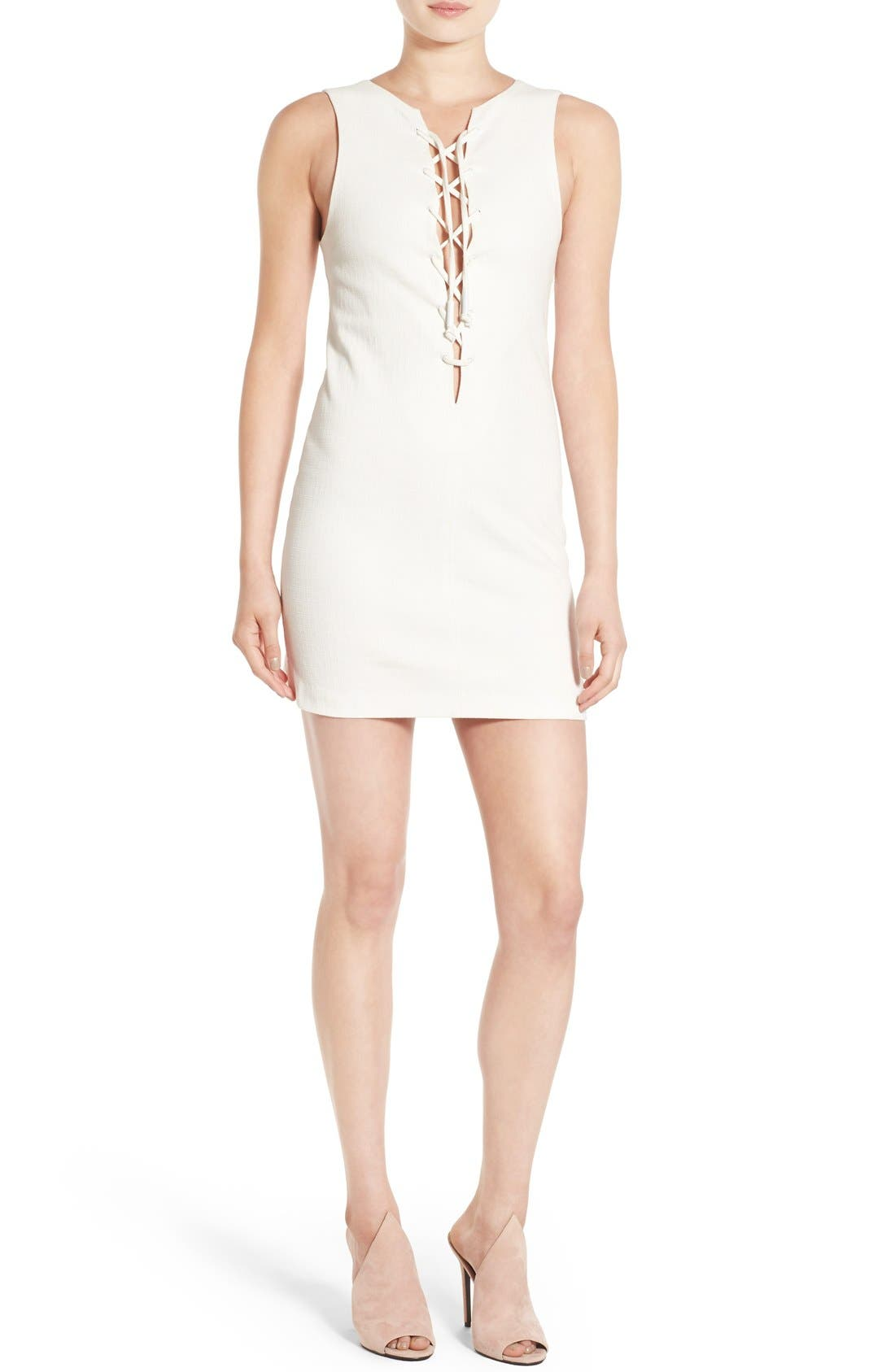 Main Image - KENDALL + KYLIE Lace-Up Tunic Dress