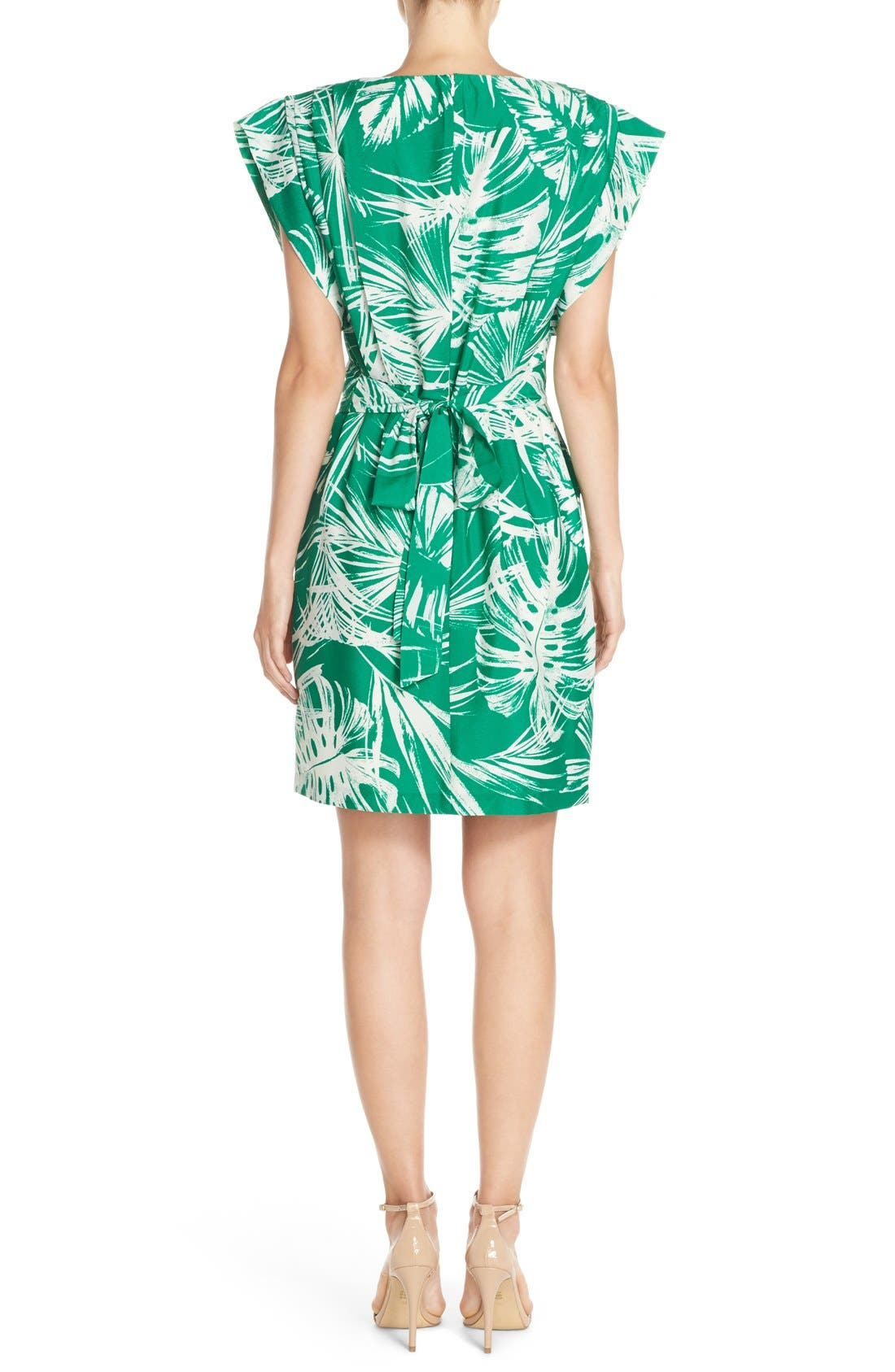 Palm Print Crêpe de Chine Shift Dress,                             Alternate thumbnail 2, color,                             Green Ivory