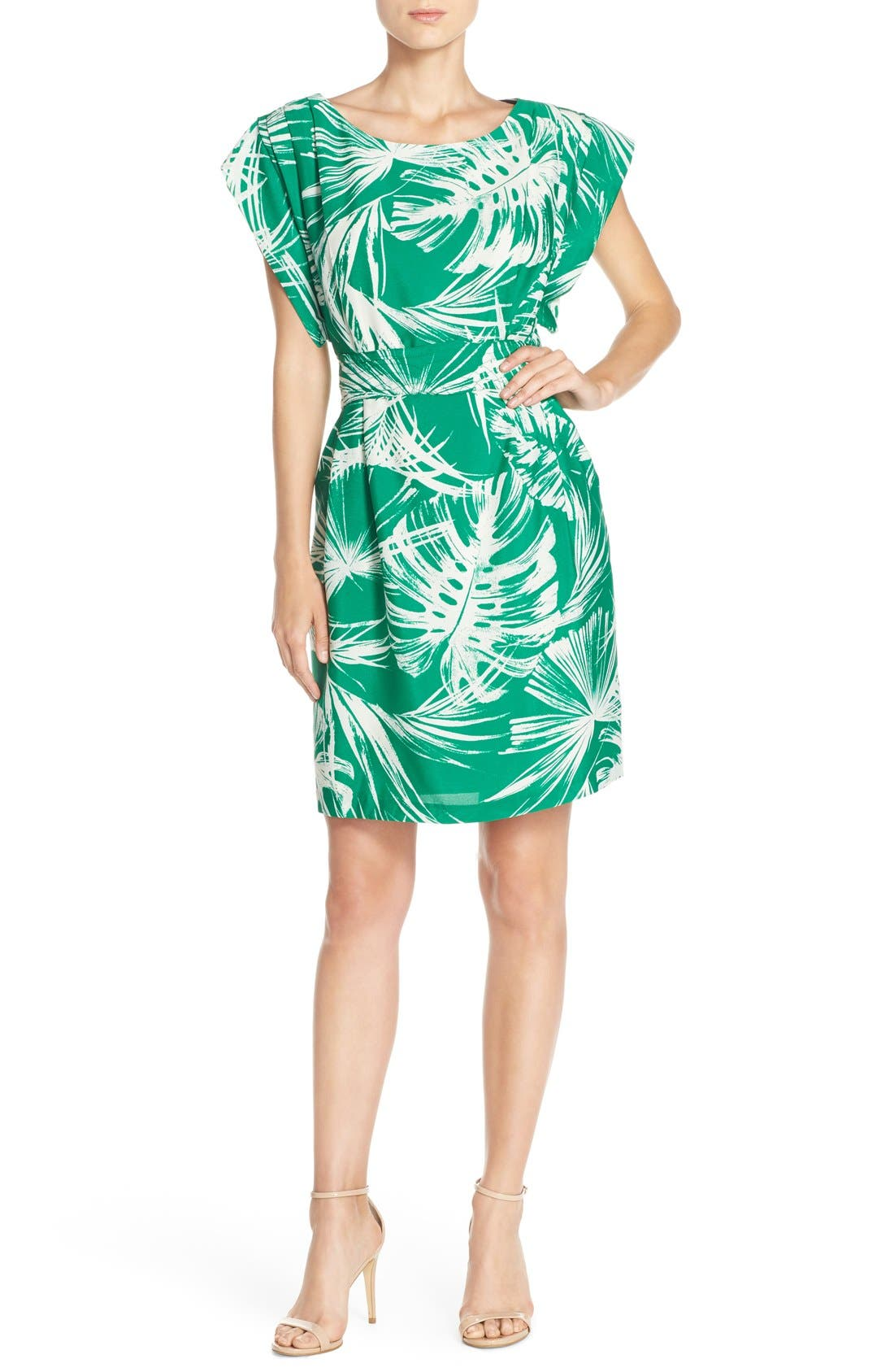 Palm Print Crêpe de Chine Shift Dress,                             Alternate thumbnail 4, color,                             Green Ivory