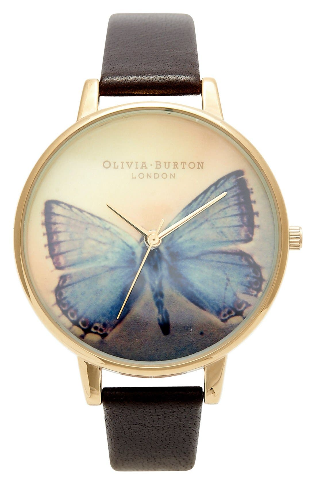 Main Image - Olivia Burton 'Woodland Butterfly' Leather Strap Watch, 38mm