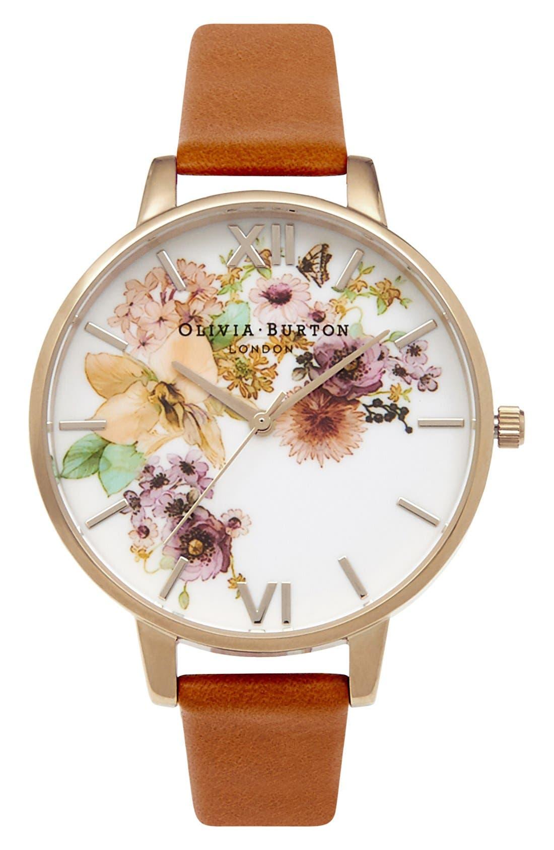 Olivia Burton 'Flower Show' Leather Strap Watch, 38mm
