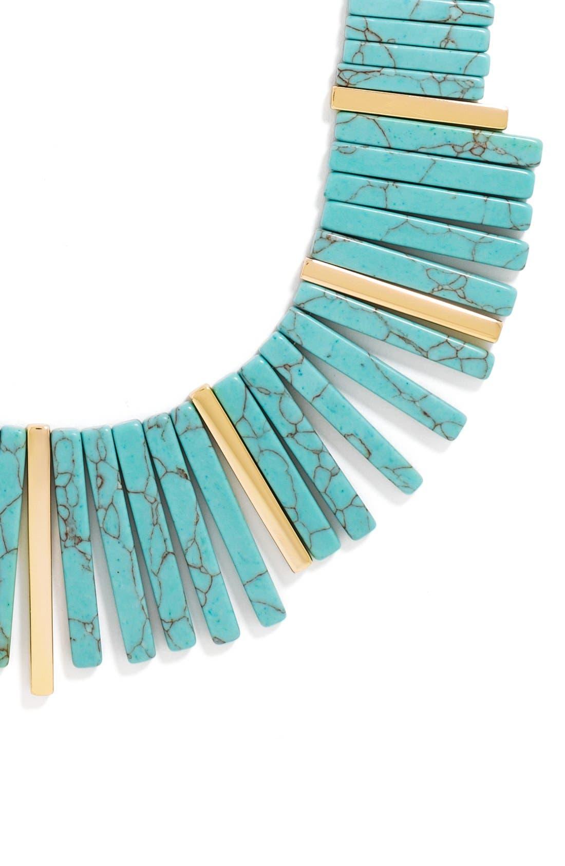 Stone Bib Necklace,                             Alternate thumbnail 3, color,                             Gold/ Turquoise