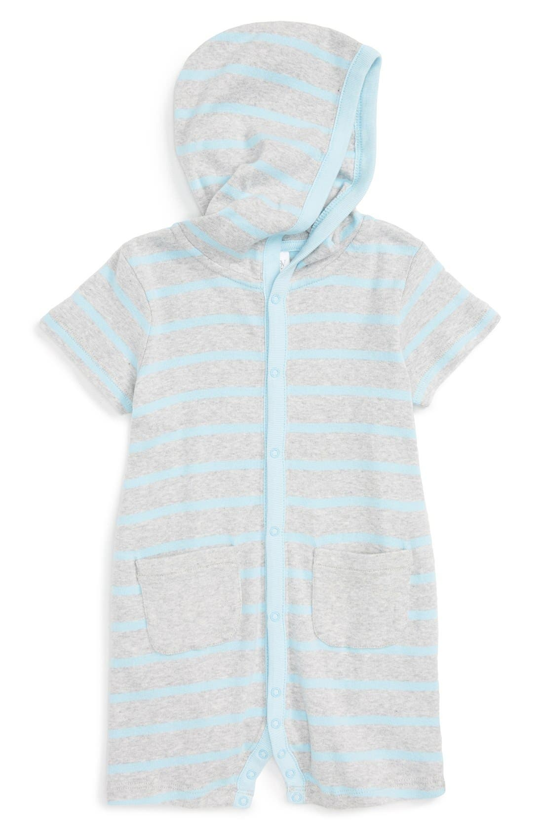 Stripe Hooded Romper,                             Main thumbnail 1, color,                             Blue Sky Breton