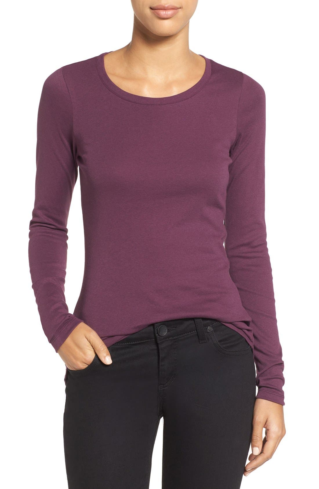 Main Image - Caslon® Long Sleeve Scoop Neck Cotton Tee (Regular & Petite)