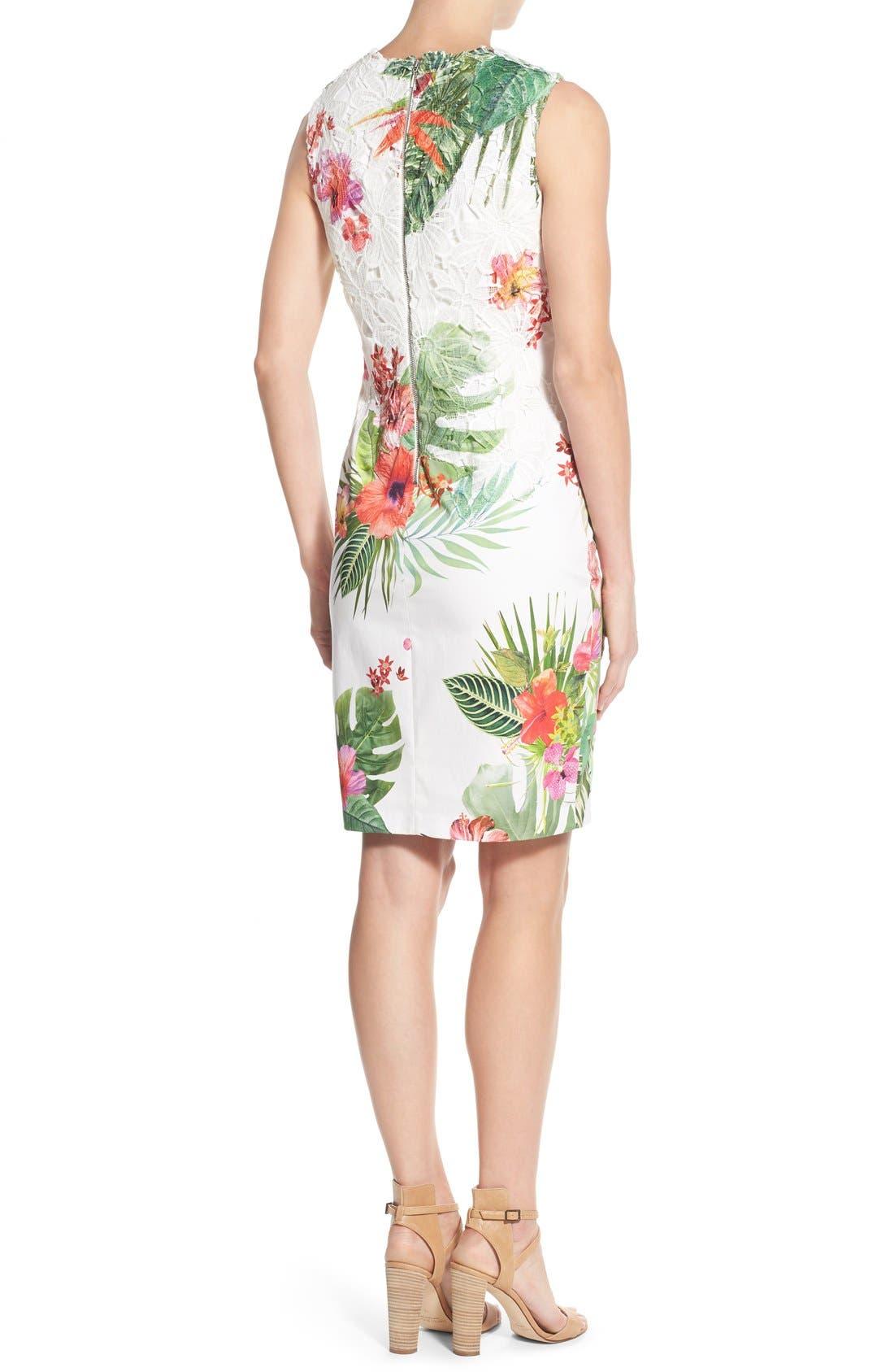 Alternate Image 2  - Elie Tahari 'Weslee' Tropical Print Lace Overlay Sheath Dress
