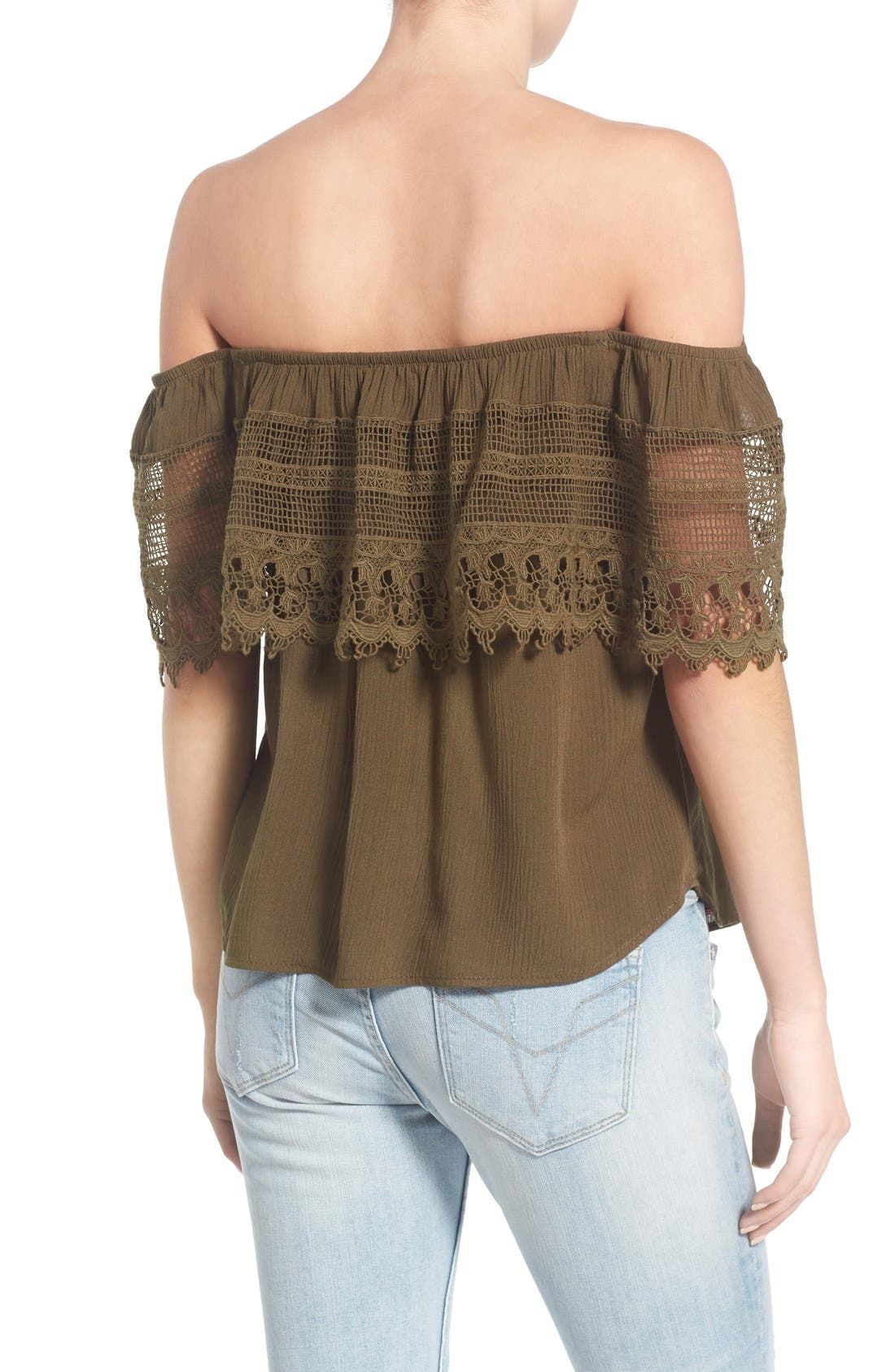 Alternate Image 2  - Socialite Crochet Off the Shoulder Top