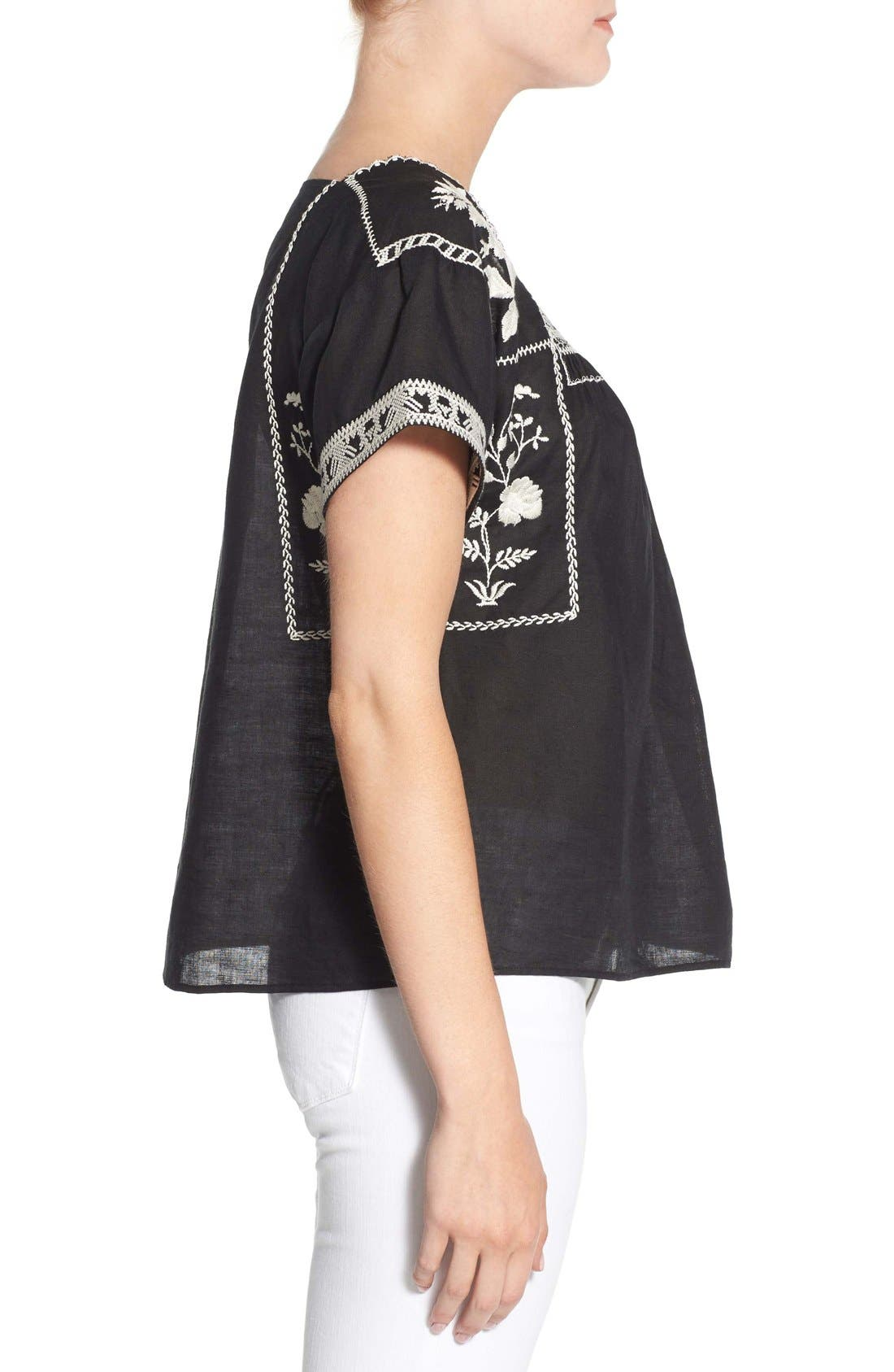Wildfield Embroidered Top,                             Alternate thumbnail 3, color,                             Classic Black
