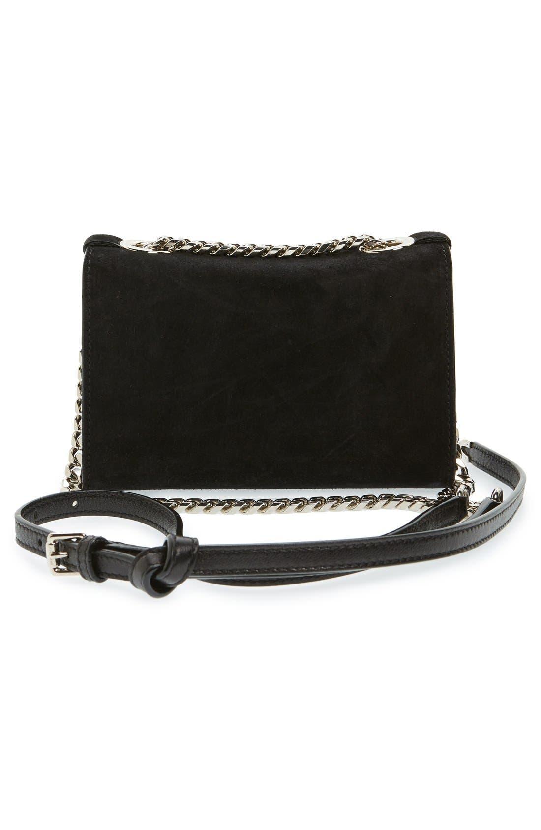 'Rebel Mini' Suede Crossbody Bag,                             Alternate thumbnail 3, color,                             Black