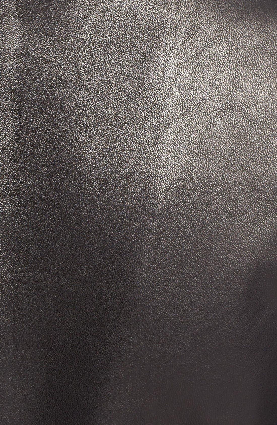 Mixed Media Leather Moto Jacket,                             Alternate thumbnail 5, color,                             Black