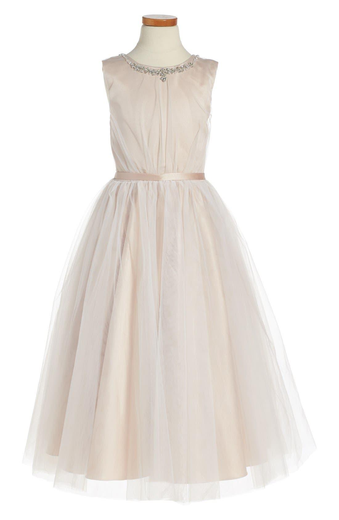 Joan Calabrese for Mon Cheri Sleeveless Tulle Dress (Toddler Girls, Little Girls & Big Girls)