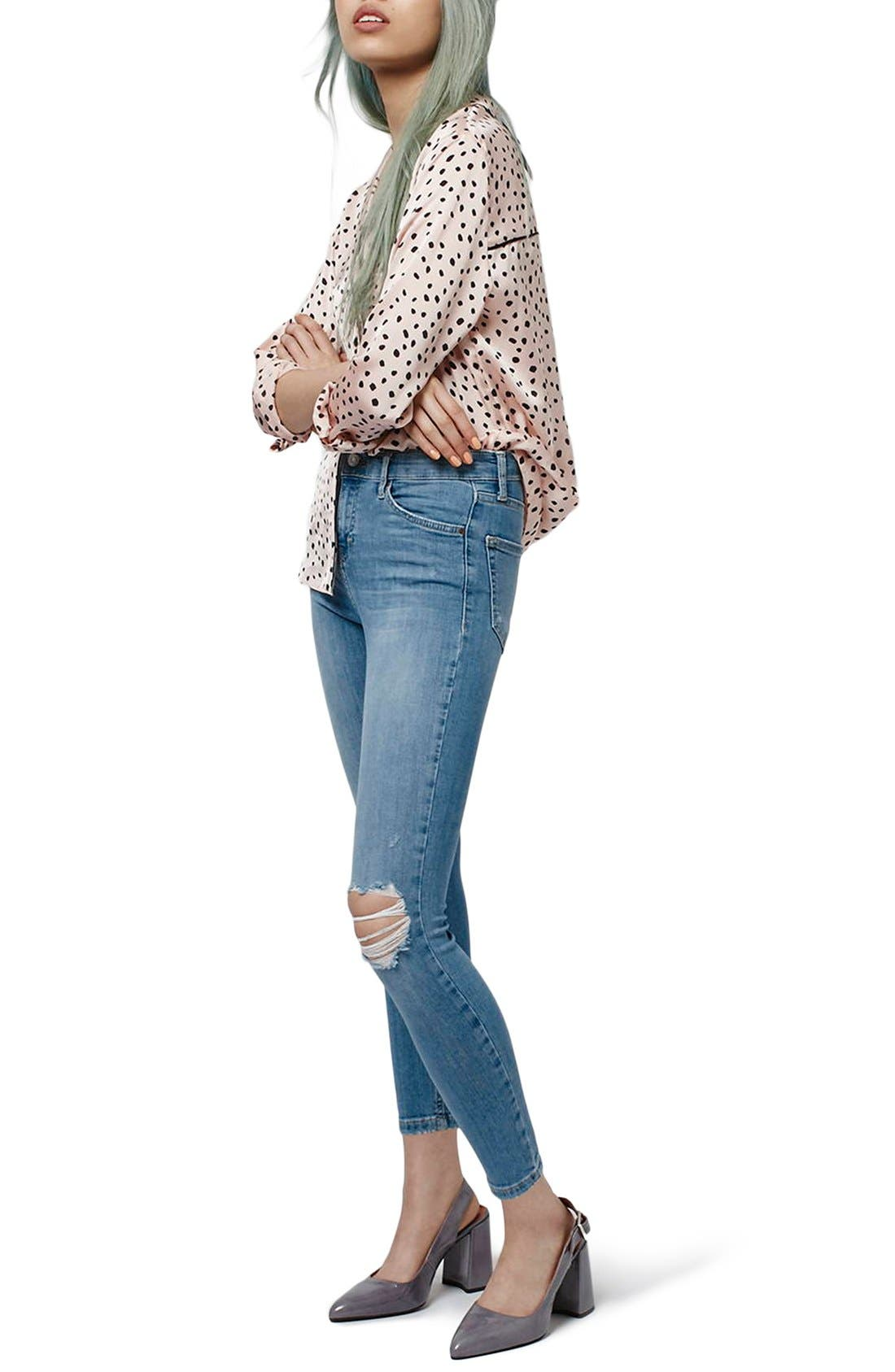 Alternate Image 2  - Topshop 'Jamie' Distressed Skinny Jeans (Petite)