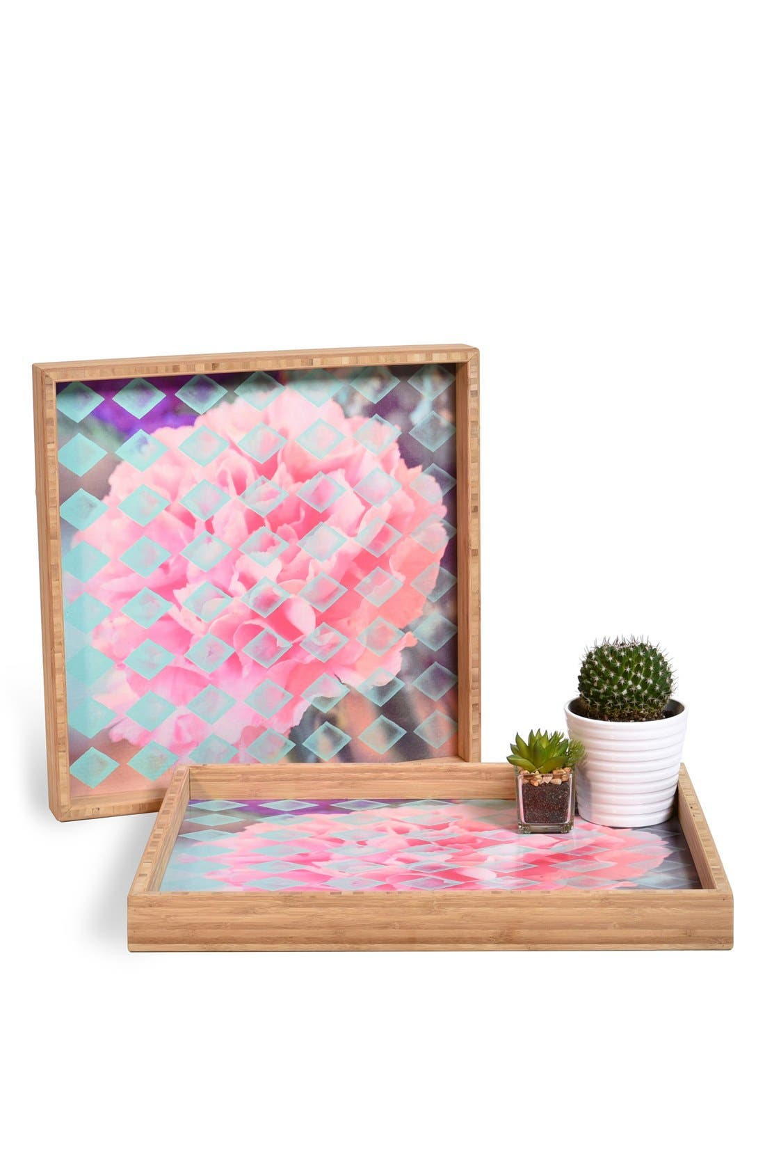 'Floral Diamonds' Decorative Serving Tray,                             Main thumbnail 1, color,                             Pink