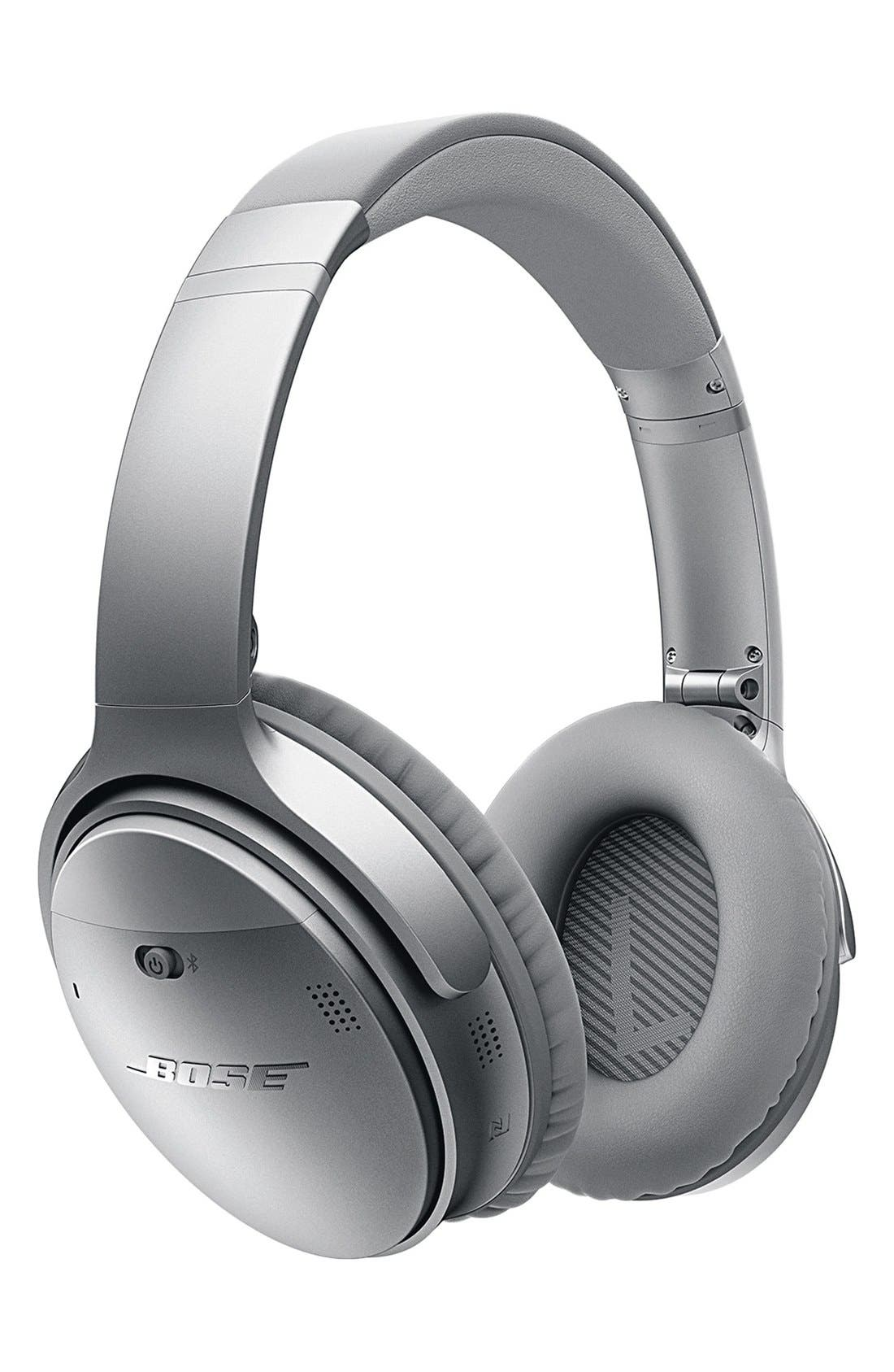 QuietComfort<sup>®</sup> 35 Acoustic Noise Cancelling<sup>®</sup> Bluetooth<sup>®</sup> Headphones,                             Main thumbnail 1, color,                             Silver