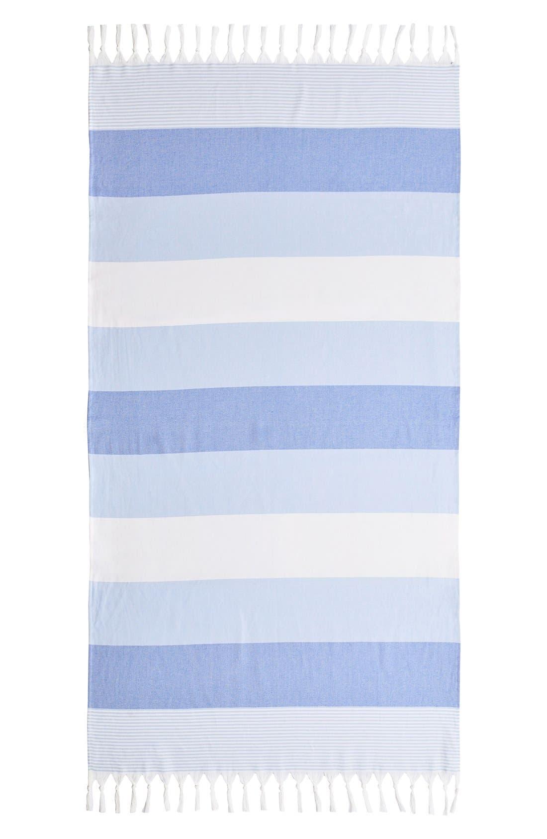 'Sea Waves' Turkish Pestemal Towel,                             Alternate thumbnail 2, color,                             Ocean Blue
