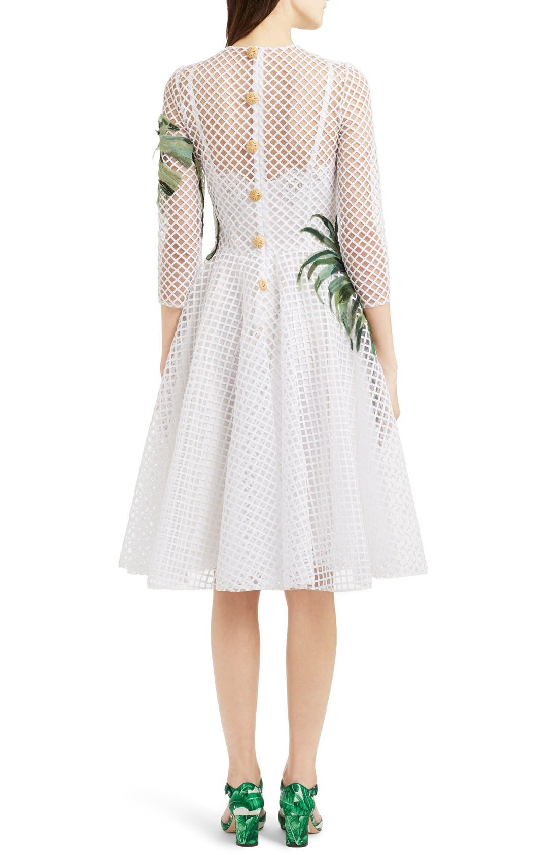 Alternate Image 2  - Dolce&Gabbana Banana Leaf Embellished Mesh Lace Dress