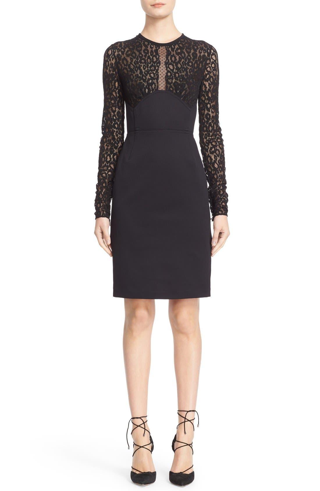 Main Image - Roberto Cavalli Lace & Jersey Sheath Dress
