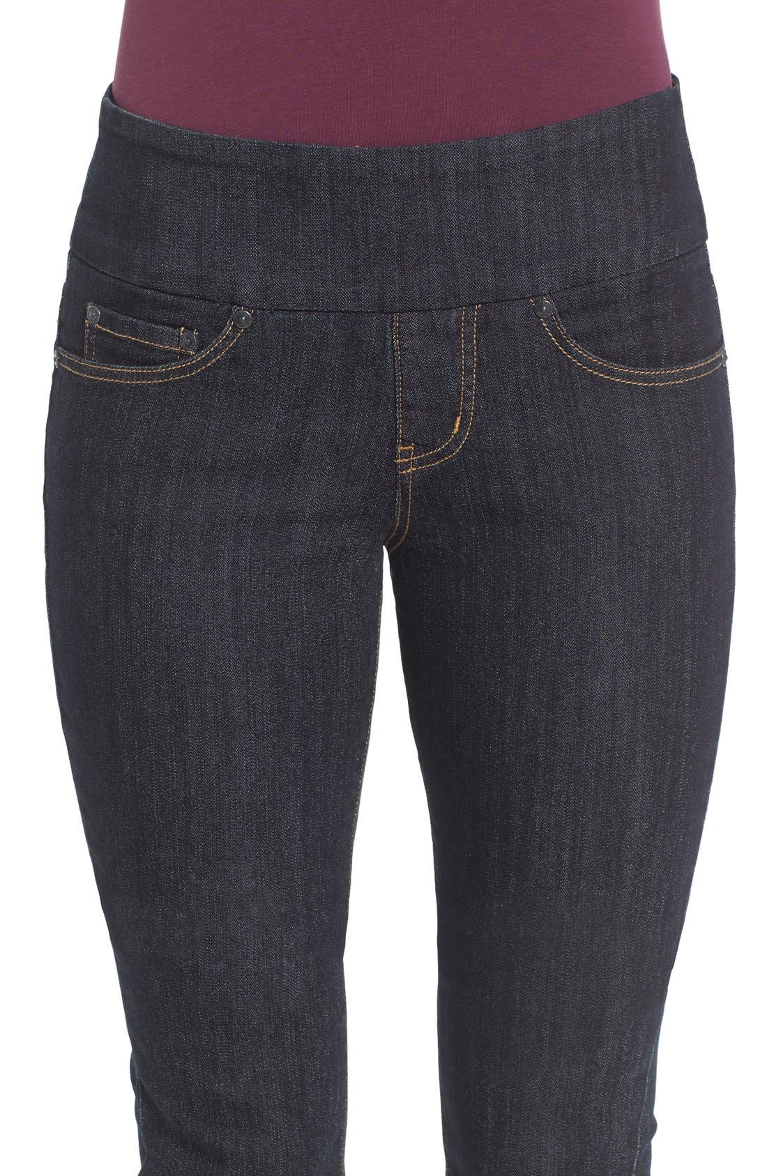 'Peri' Pull-On Stretch Straight Leg Jeans,                             Alternate thumbnail 4, color,                             Late Night Wash