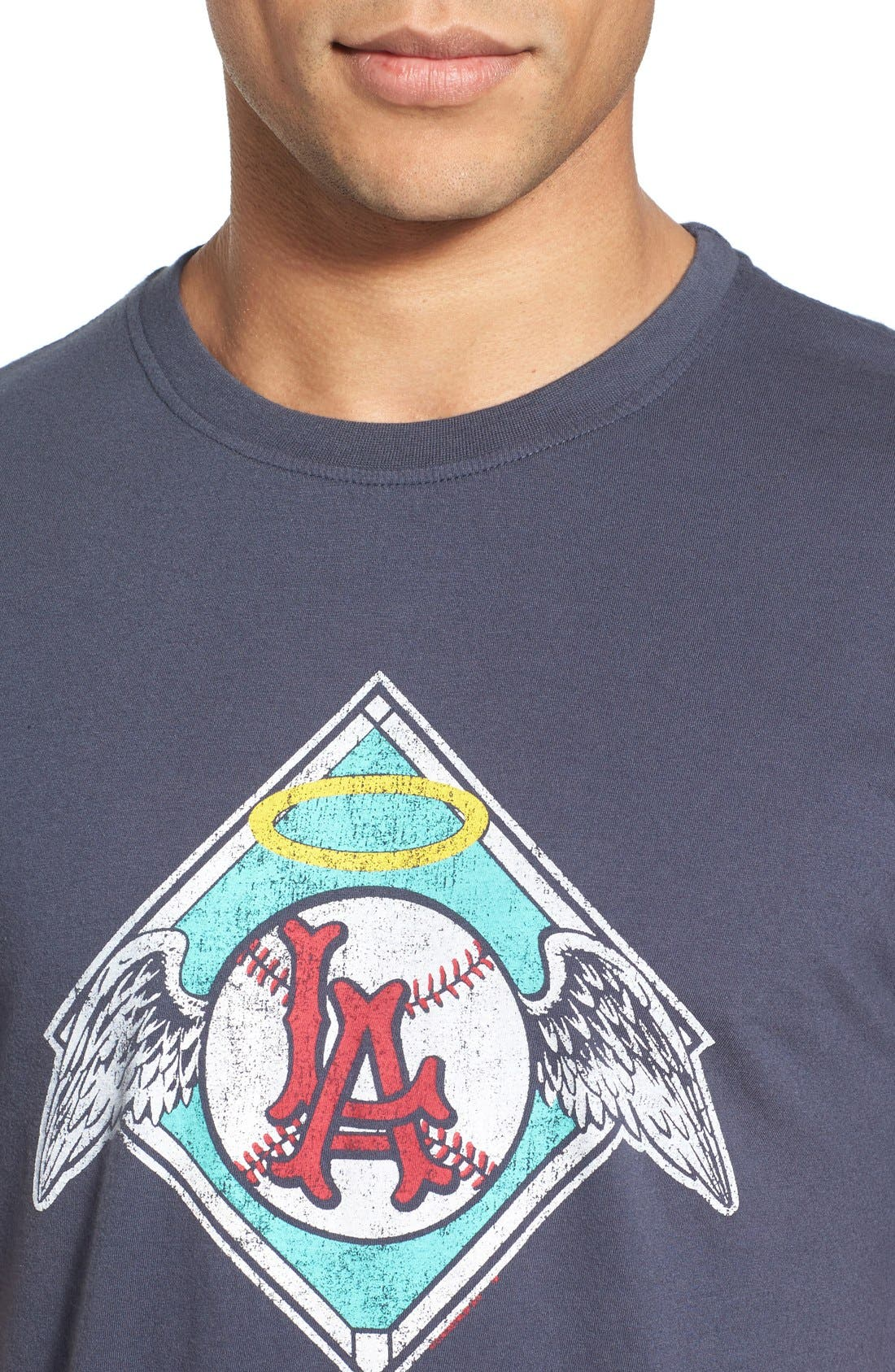 'Los Angeles Angels - Brass Tacks' Trim Fit T-Shirt,                             Alternate thumbnail 4, color,                             Navy
