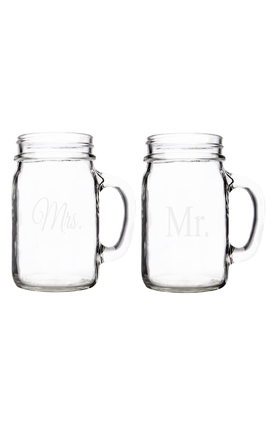Alternate Image 5  - Cathy's Concepts 'For The Couple' Mason Jar Glasses with Handles (Set of 2)