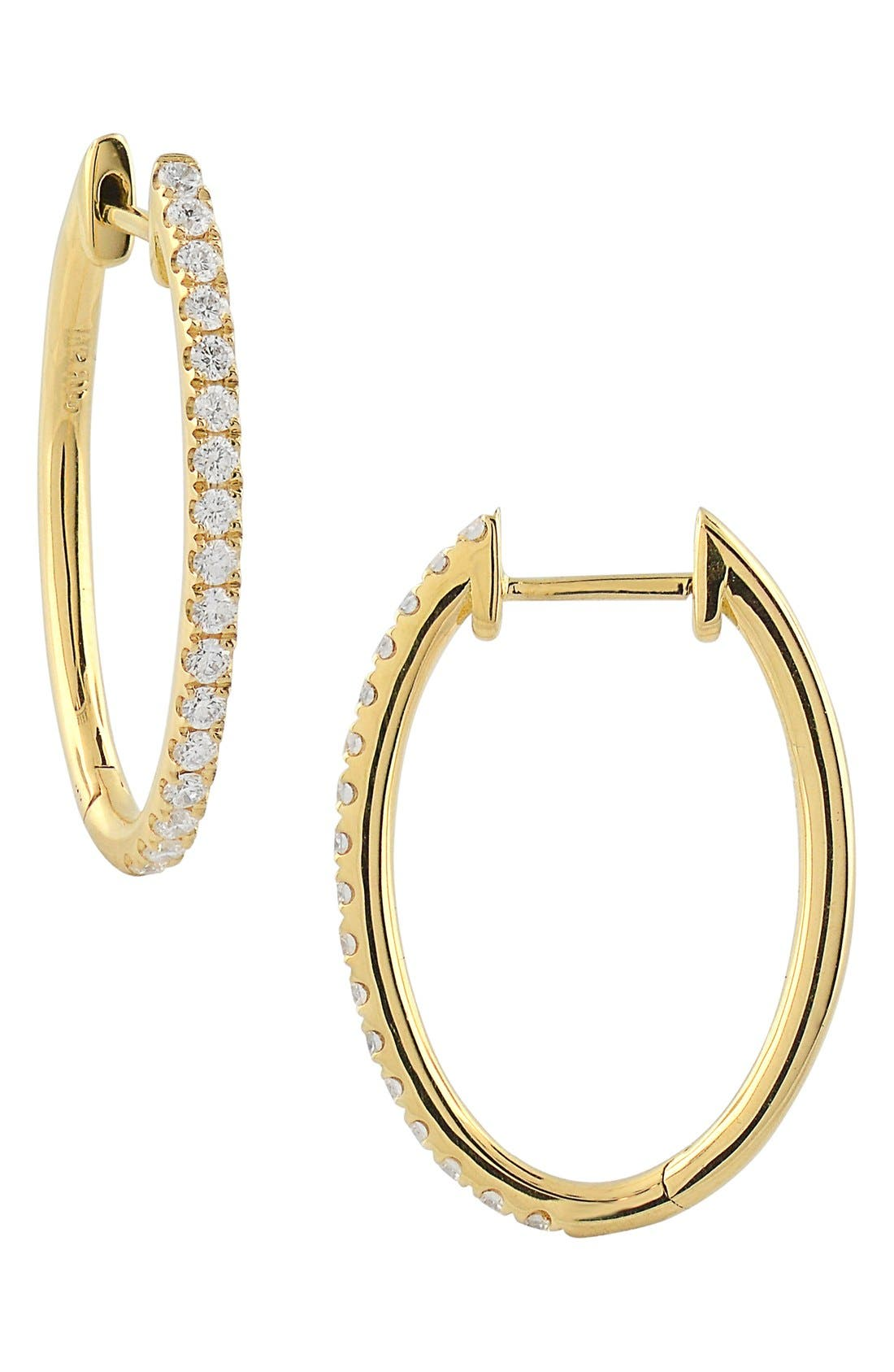 Oval Hoop Diamond Earrings,                         Main,                         color, Yellow Gold