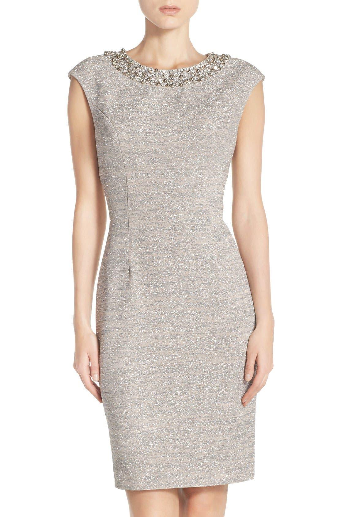Main Image - Eliza J Embellished Sparkle Knit Sheath Dress (Regular & Petite)
